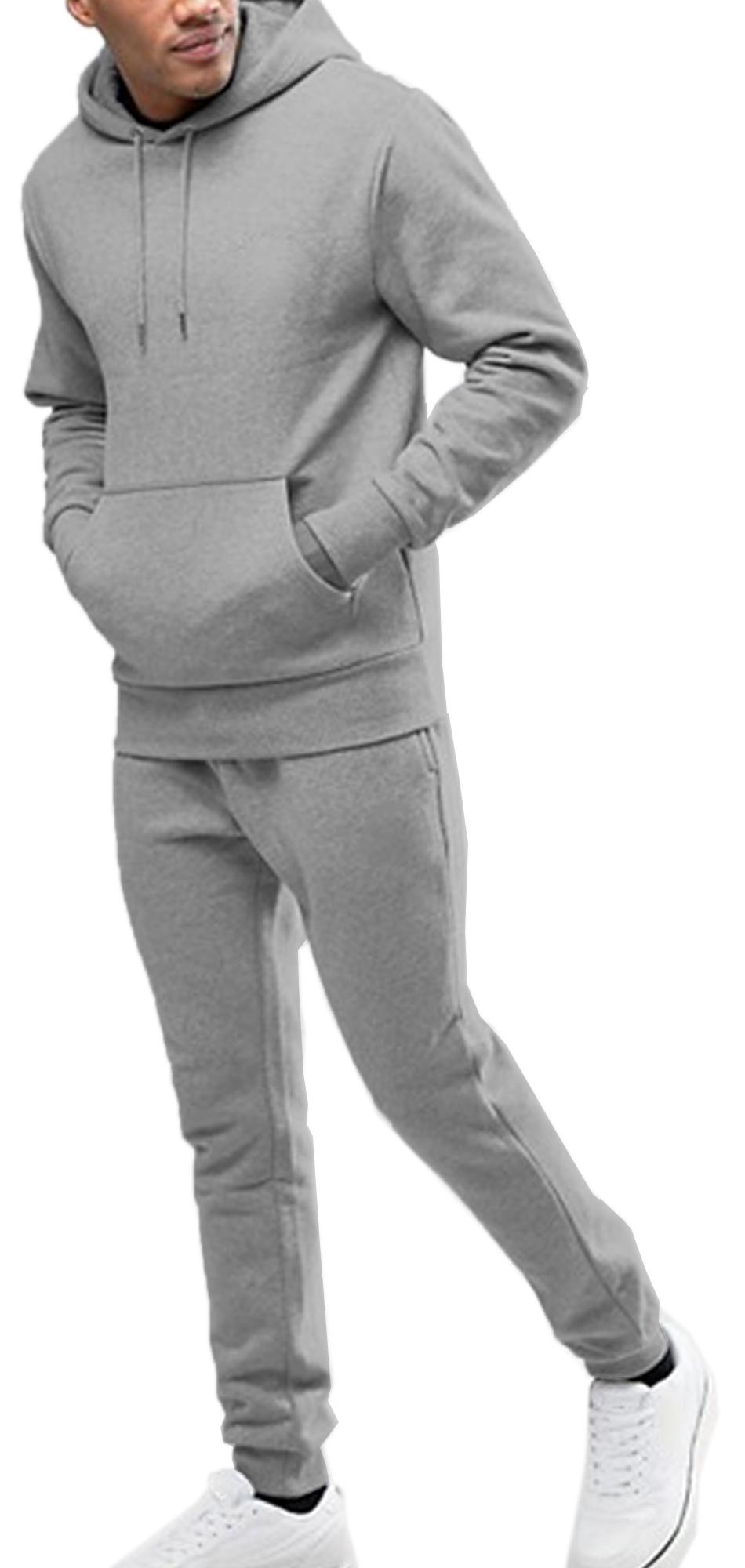 Tuta Uomo Invernale Felpata Cpmpleto Pantaloni e Felpa Cappuccio Blu Nero Sport
