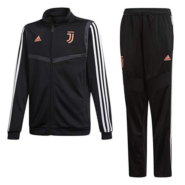 Dettagli su Adidas Tuta Juventus Polyester Suit, 201920, Junior Art. DX9115 (NeroBianco