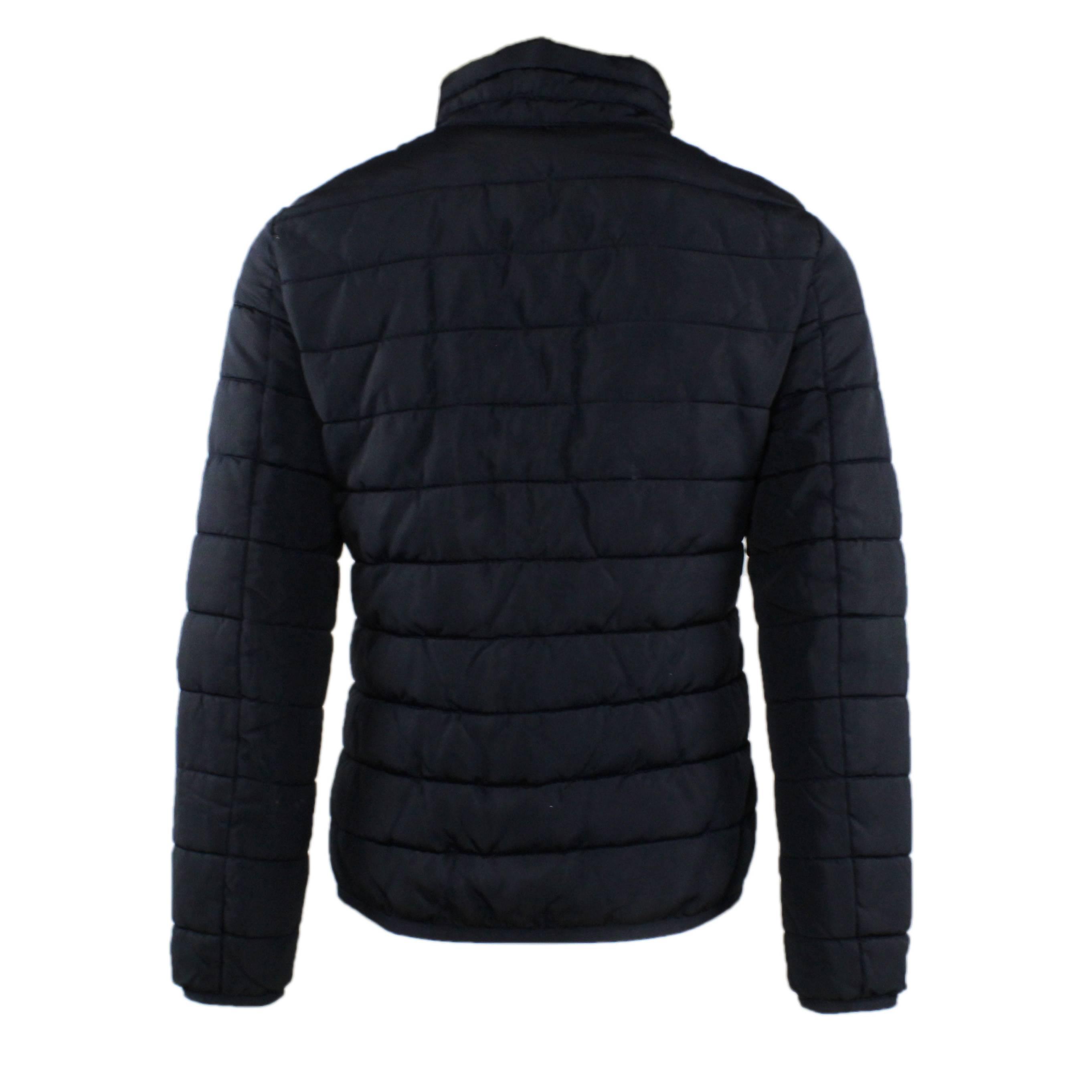 Piumino-Uomo-Invernale-Giubbotto-Elegante-Nero-Blu-con-Cappuccio-Giacca-a-Vento miniatura 5