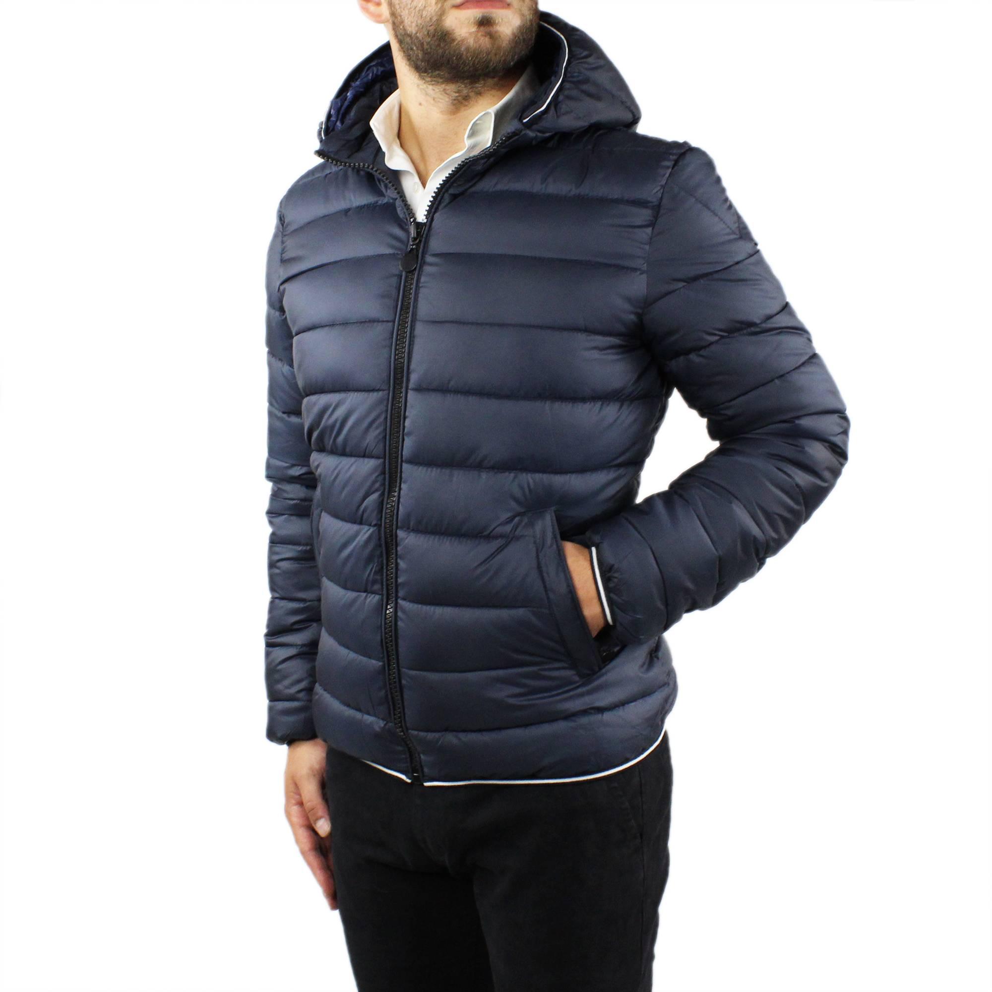 Giubbotto-Uomo-Invernale-Slim-Fit-Giubbino-Piumino-Con-Cappuccio-Blu-Nero-Casual miniatura 4