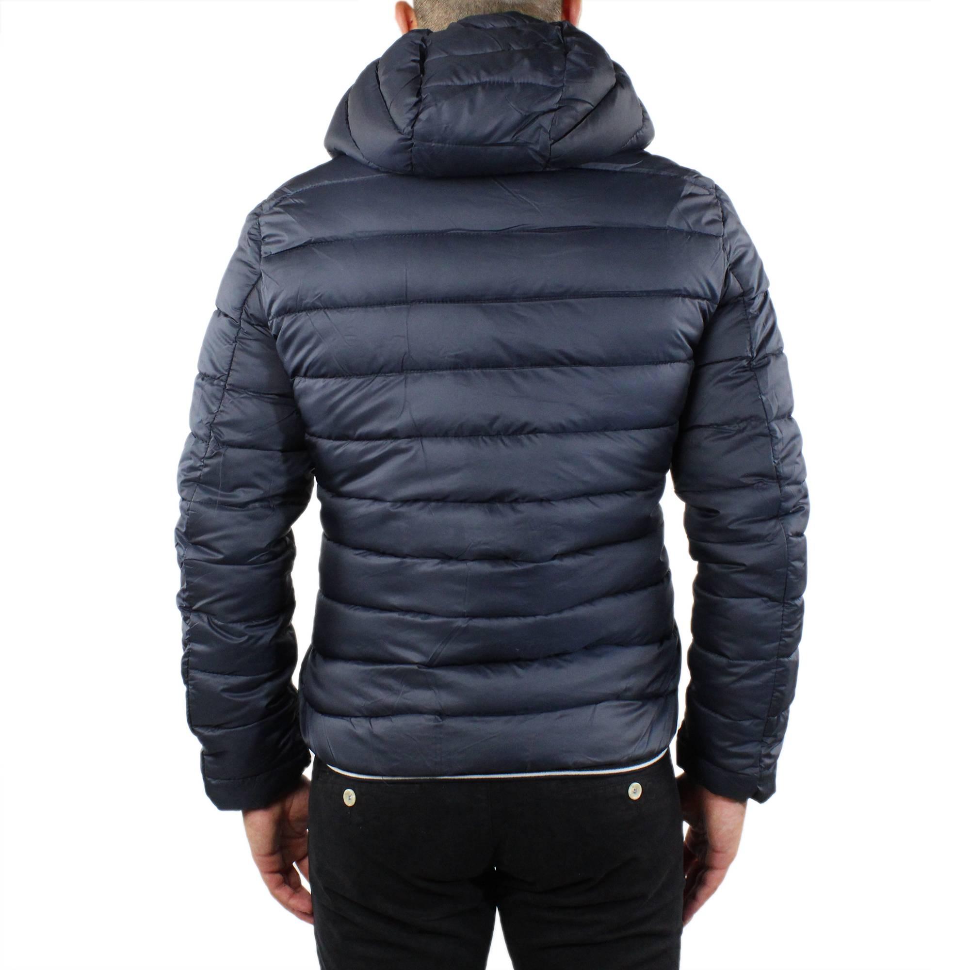 Giubbotto-Uomo-Invernale-Slim-Fit-Giubbino-Piumino-Con-Cappuccio-Blu-Nero-Casual miniatura 5