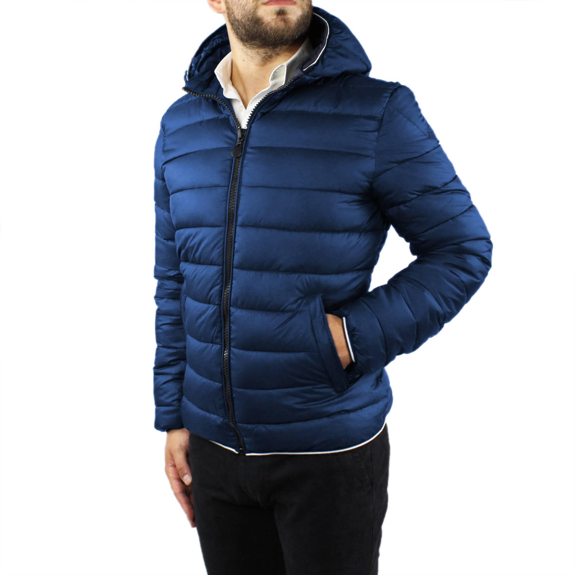 Giubbotto-Uomo-Invernale-Slim-Fit-Giubbino-Piumino-Con-Cappuccio-Blu-Nero-Casual miniatura 12