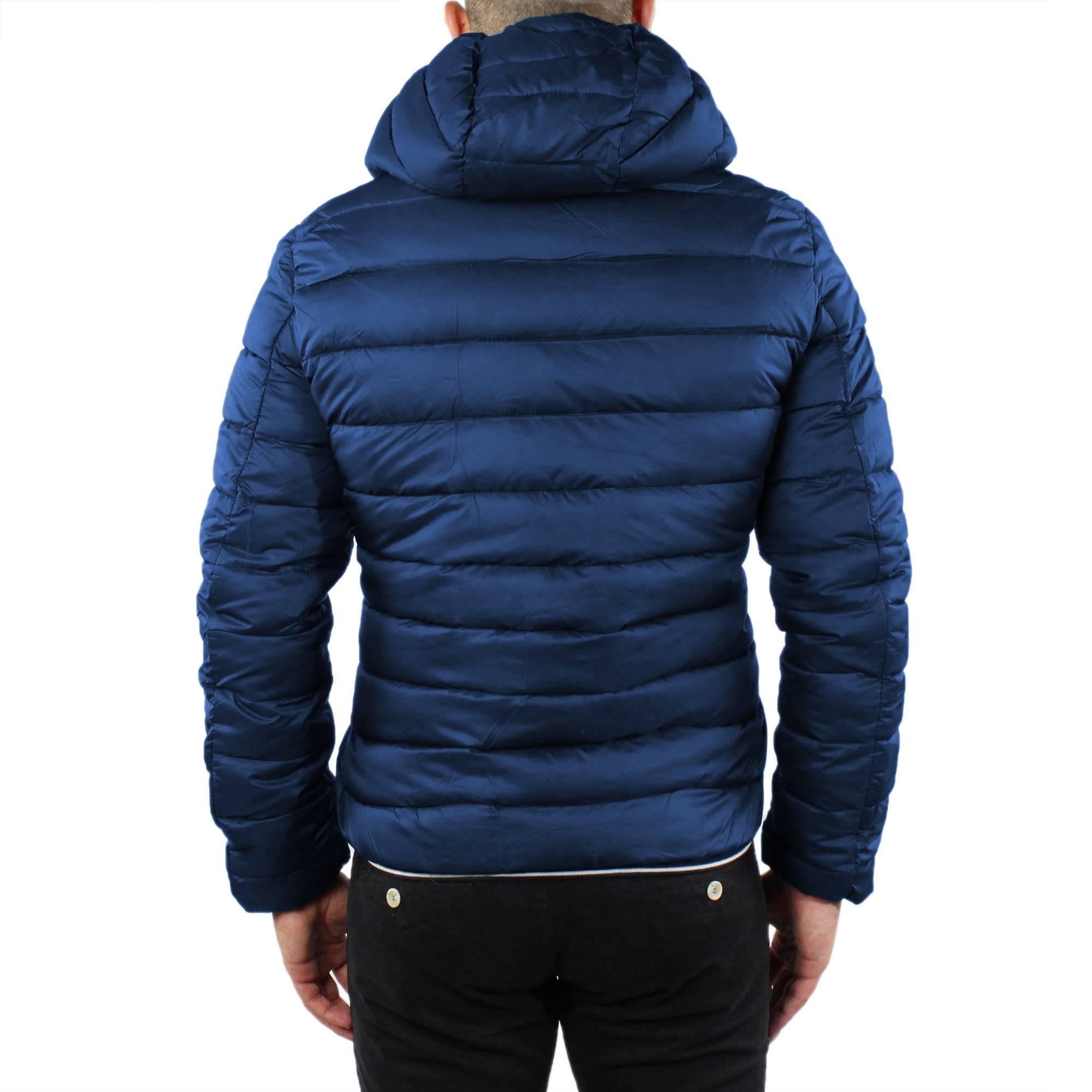 Giubbotto-Uomo-Invernale-Slim-Fit-Giubbino-Piumino-Con-Cappuccio-Blu-Nero-Casual miniatura 13