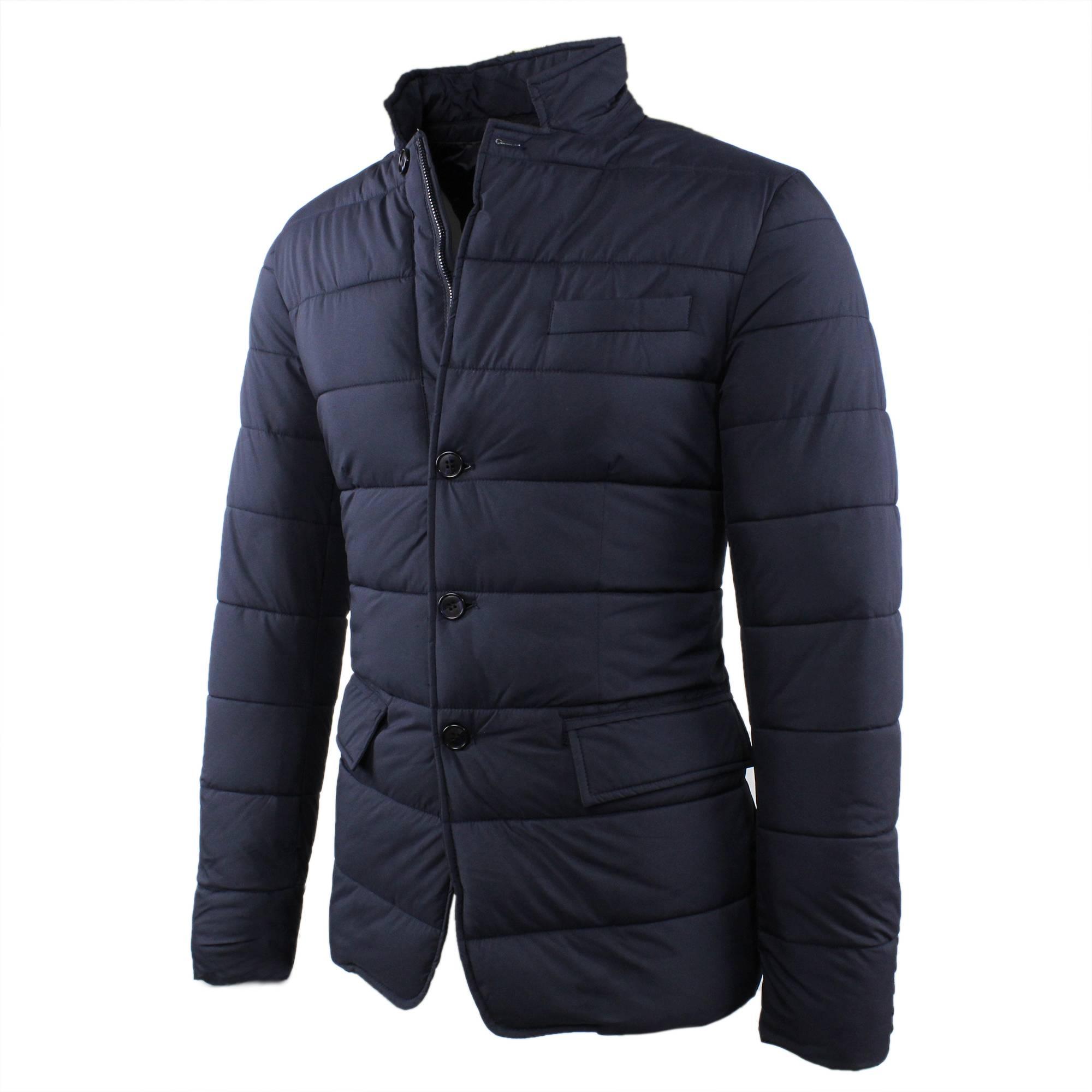 Giubbotto-Uomo-Invernale-Giacca-Trapuntata-Giaccone-Slim-Fit-Elegante-Blu-Nero miniatura 3