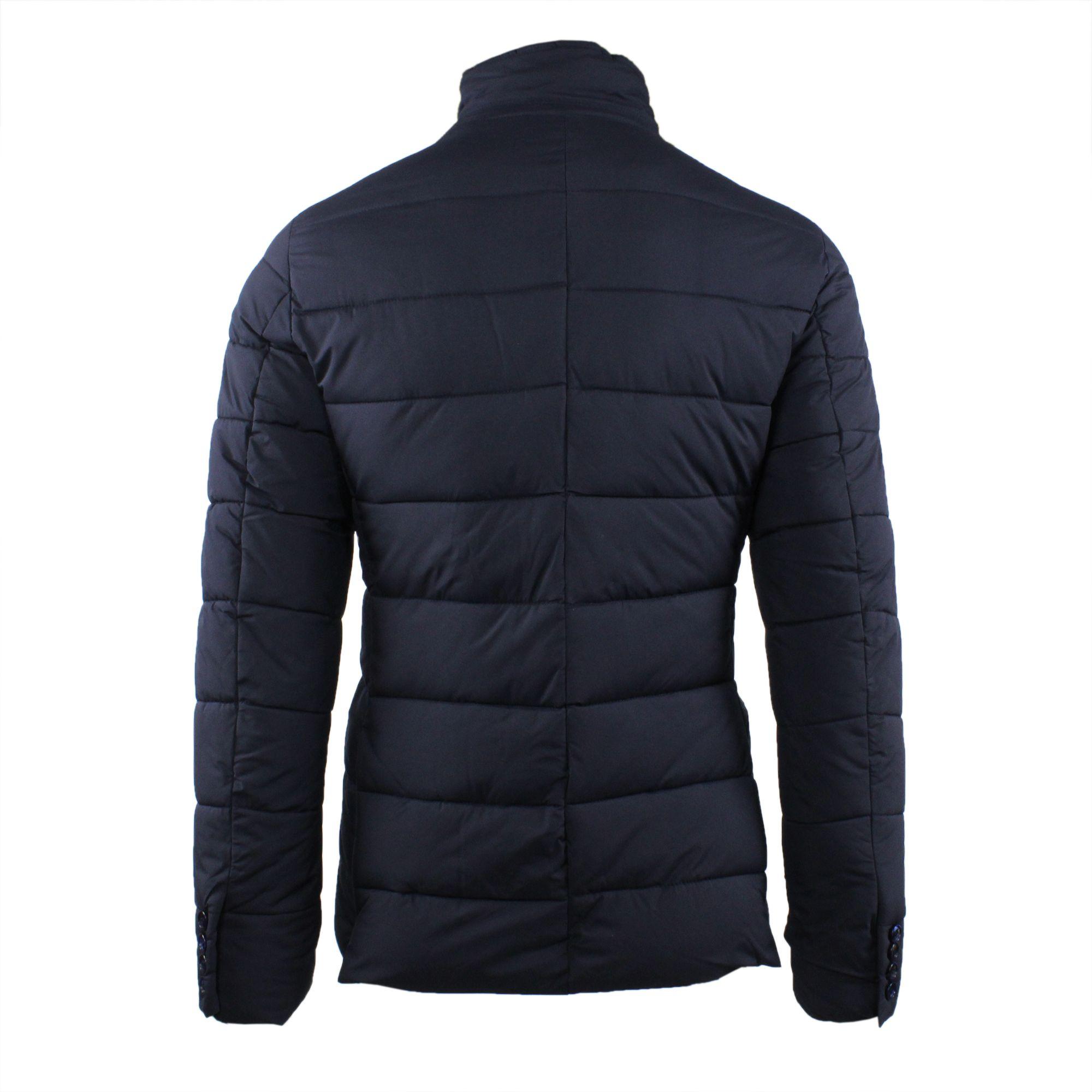 Giubbotto-Uomo-Invernale-Giacca-Trapuntata-Giaccone-Slim-Fit-Elegante-Blu-Nero miniatura 6