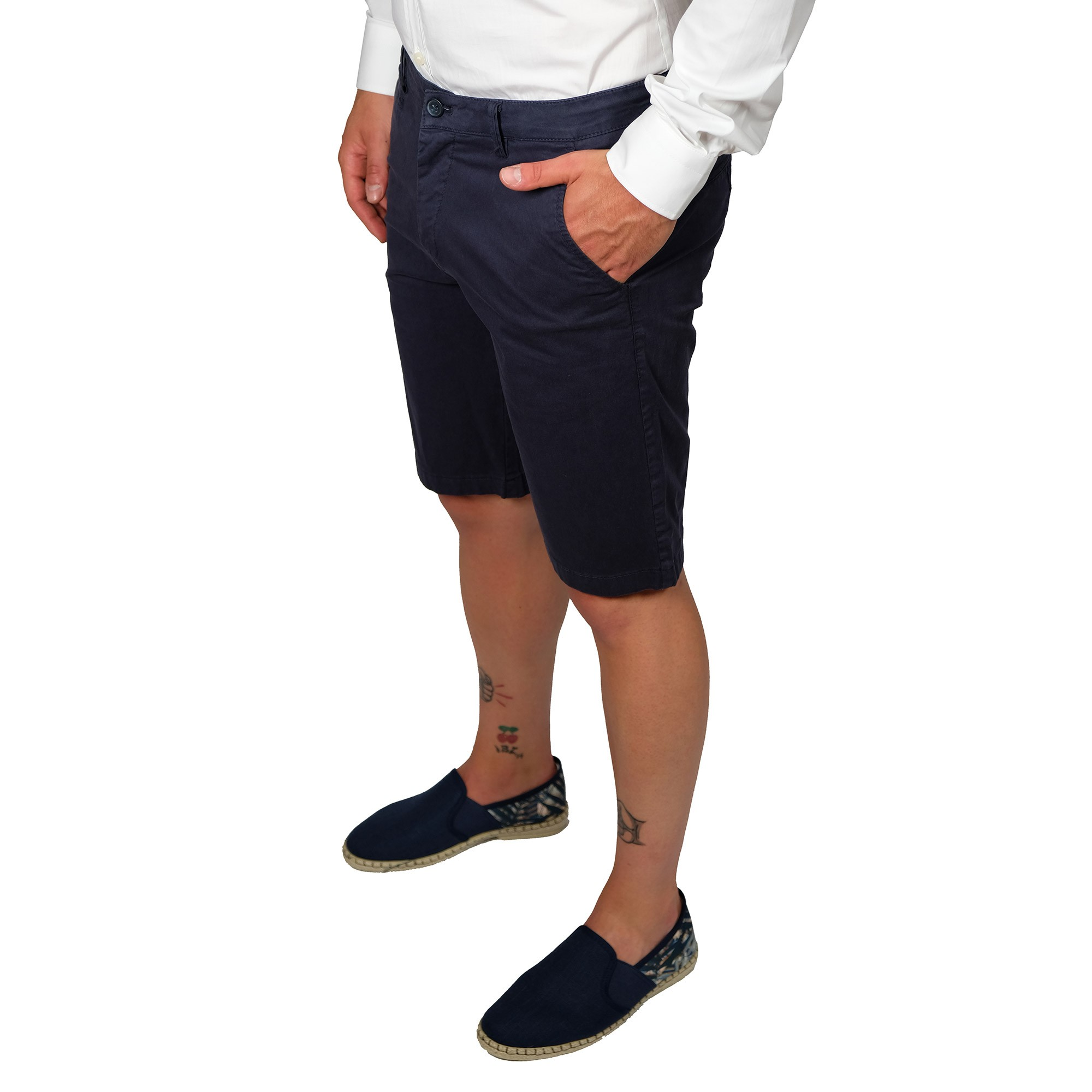 Bermuda-Uomo-Cotone-Jeans-Pantaloncini-Pantaloni-Corti-Tasca-America-Slim-Shorts miniatura 6