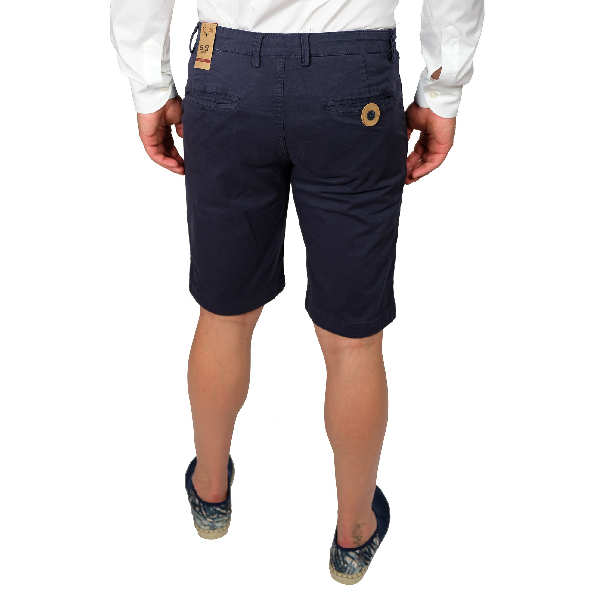 Bermuda-Uomo-Cotone-Jeans-Pantaloncini-Pantaloni-Corti-Tasca-America-Slim-Shorts miniatura 7