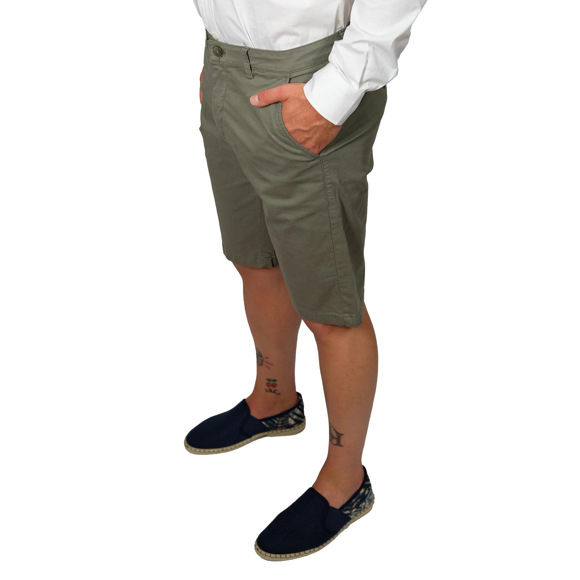 Bermuda-Uomo-Cotone-Jeans-Pantaloncini-Pantaloni-Corti-Tasca-America-Slim-Shorts miniatura 9