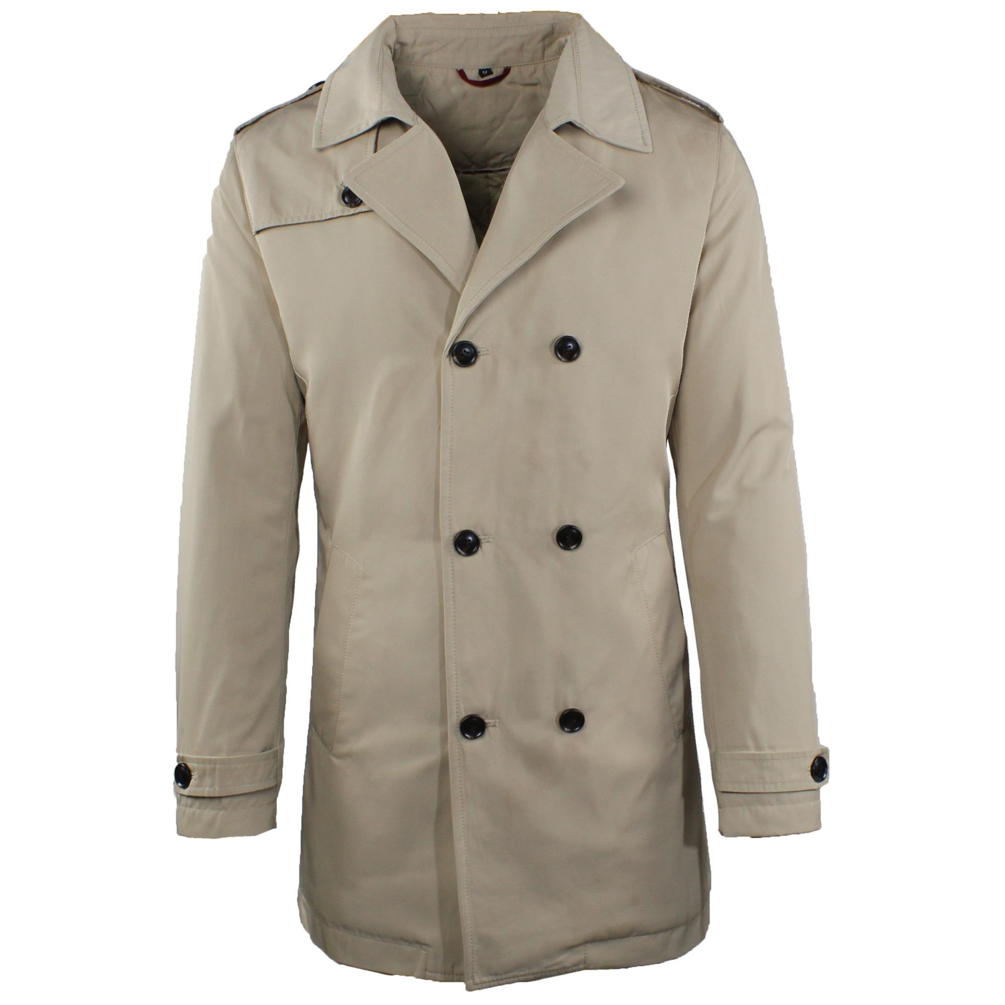 Trench-Uomo-doppio-petto-Invernale-Impermeabile-Elegante-Cappotto-Lungo-Classico miniatura 10