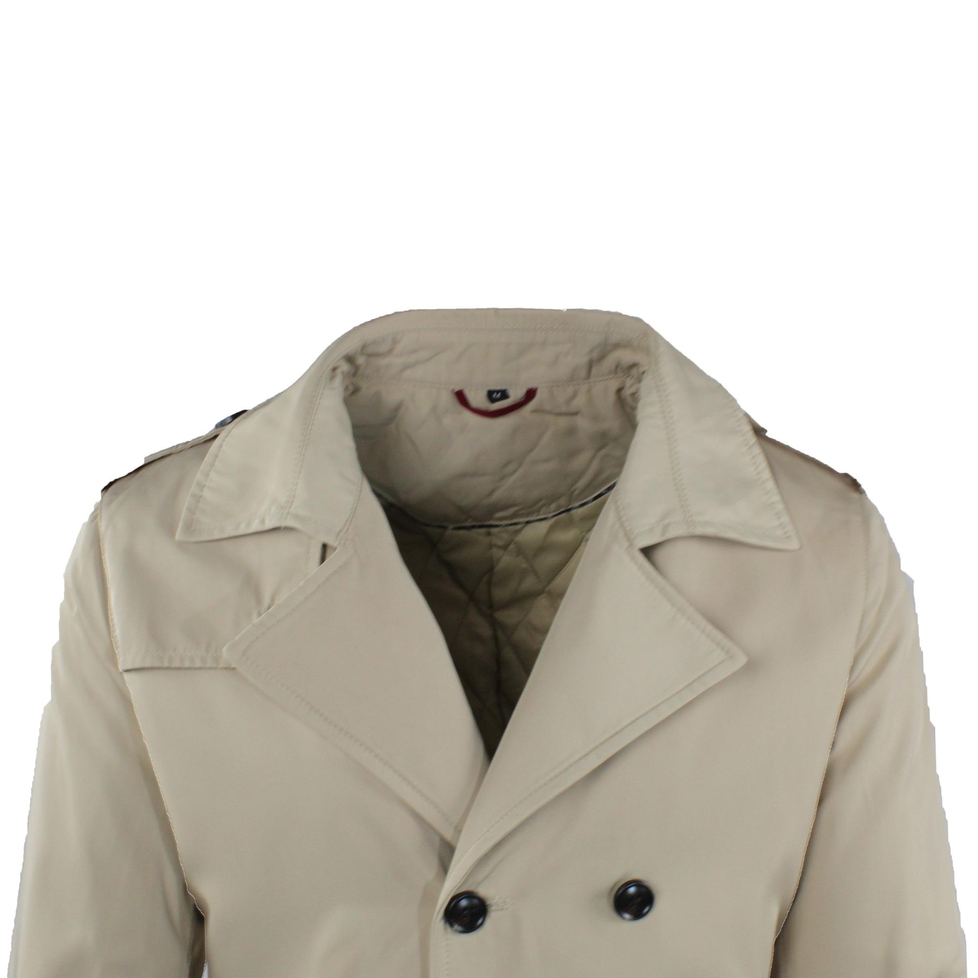 Trench-Uomo-doppio-petto-Invernale-Impermeabile-Elegante-Cappotto-Lungo-Classico miniatura 11