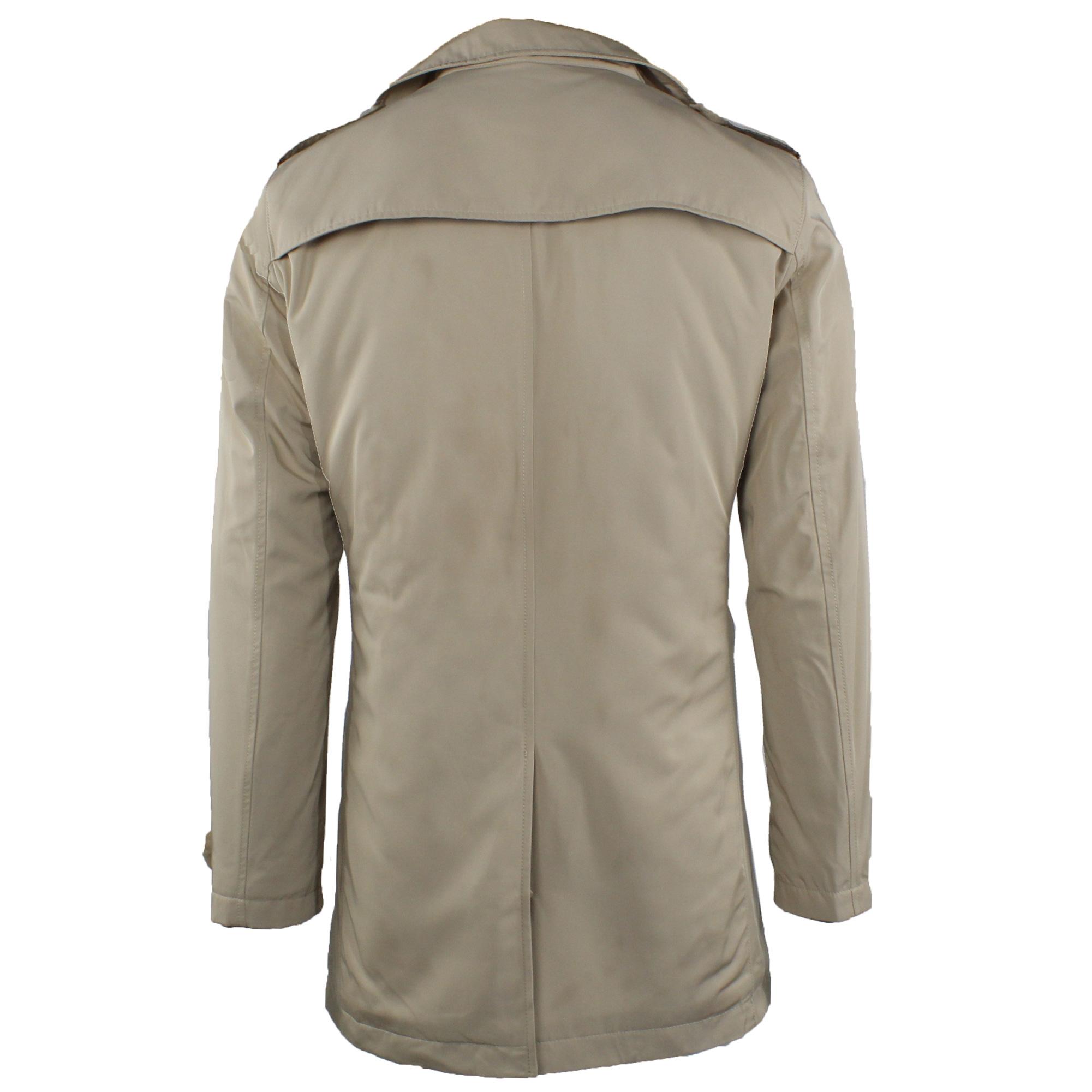 Trench-Uomo-doppio-petto-Invernale-Impermeabile-Elegante-Cappotto-Lungo-Classico miniatura 12