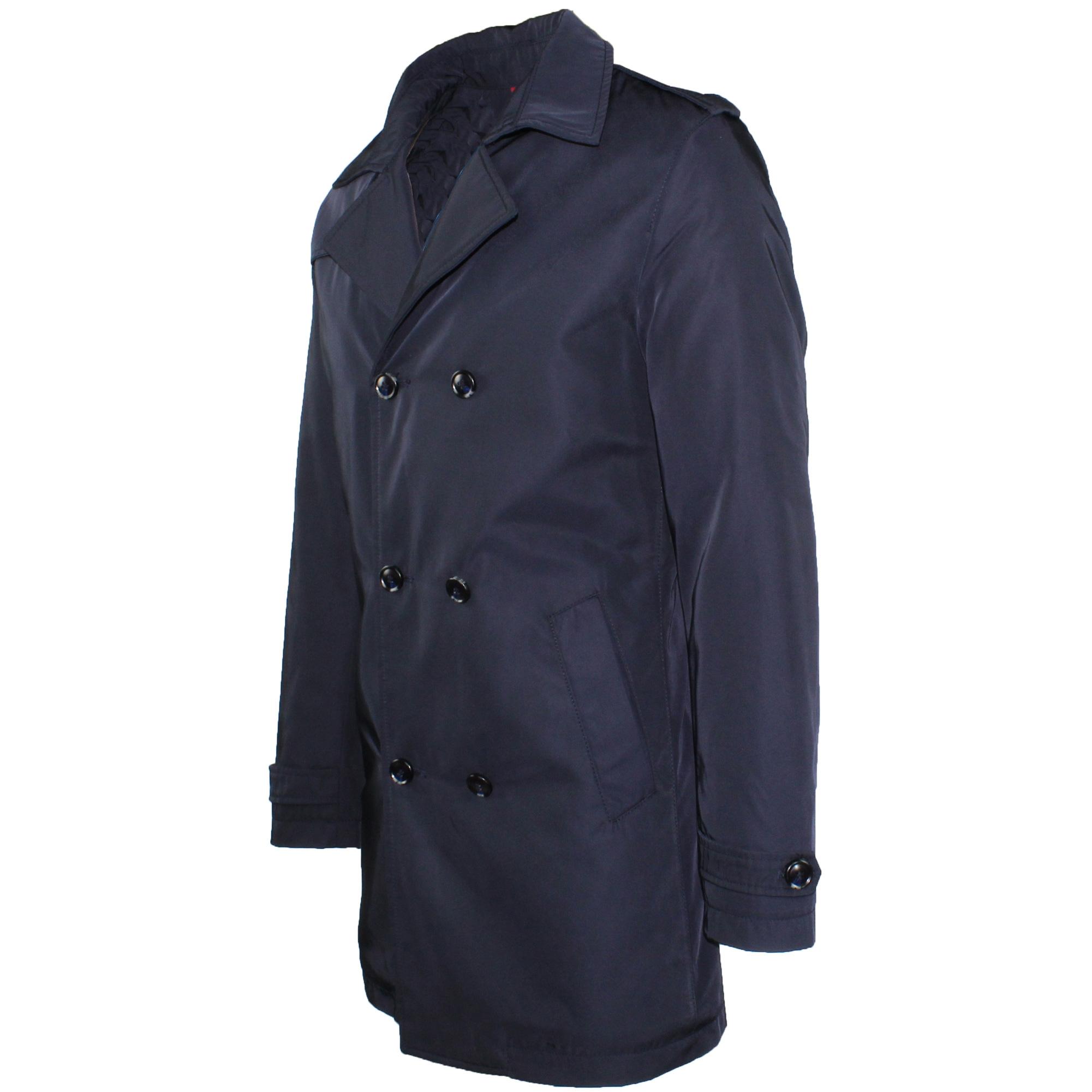 Trench-Uomo-doppio-petto-Invernale-Impermeabile-Elegante-Cappotto-Lungo-Classico miniatura 4