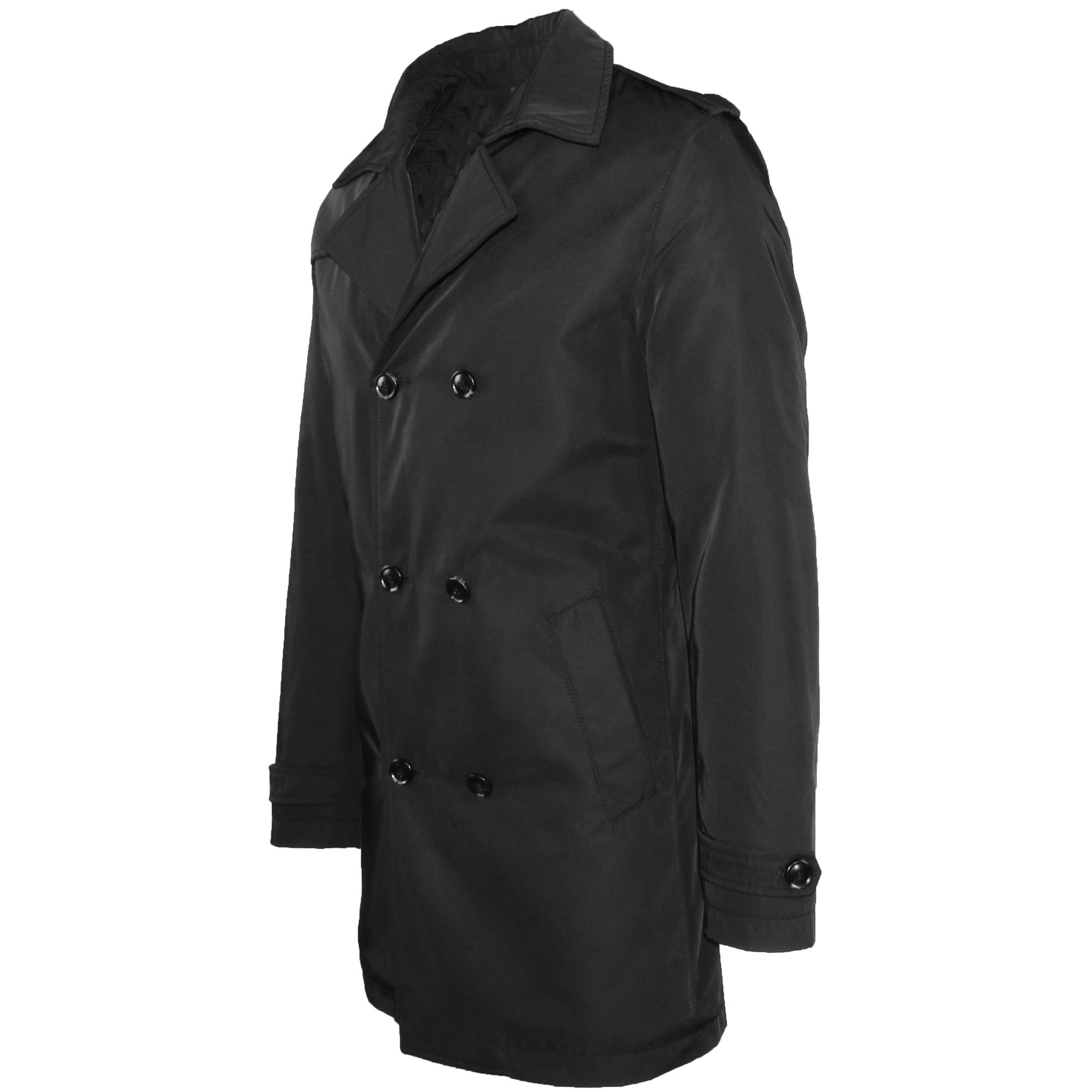 Trench-Uomo-doppio-petto-Invernale-Impermeabile-Elegante-Cappotto-Lungo-Classico miniatura 7