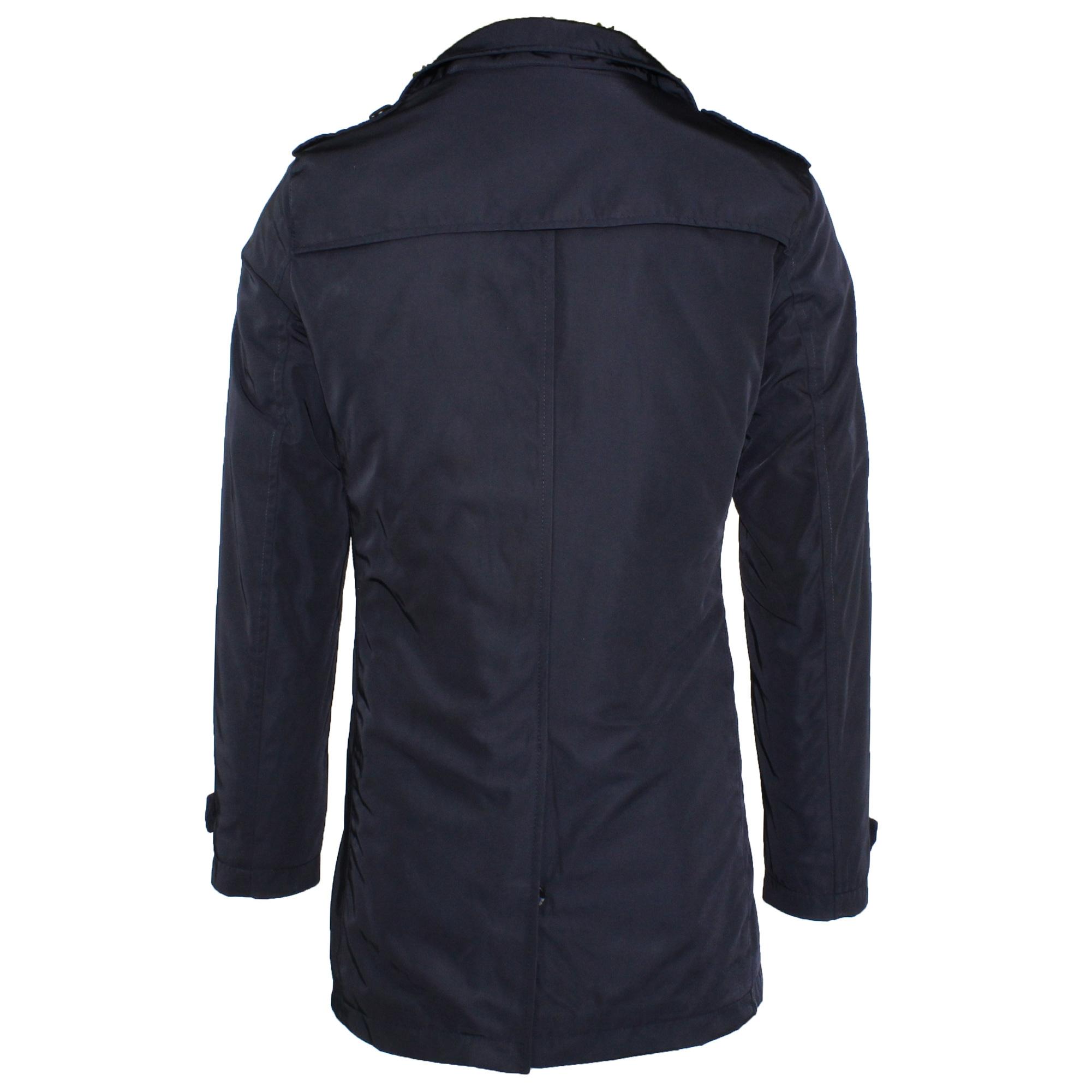Trench-Uomo-doppio-petto-Invernale-Impermeabile-Elegante-Cappotto-Lungo-Classico miniatura 5