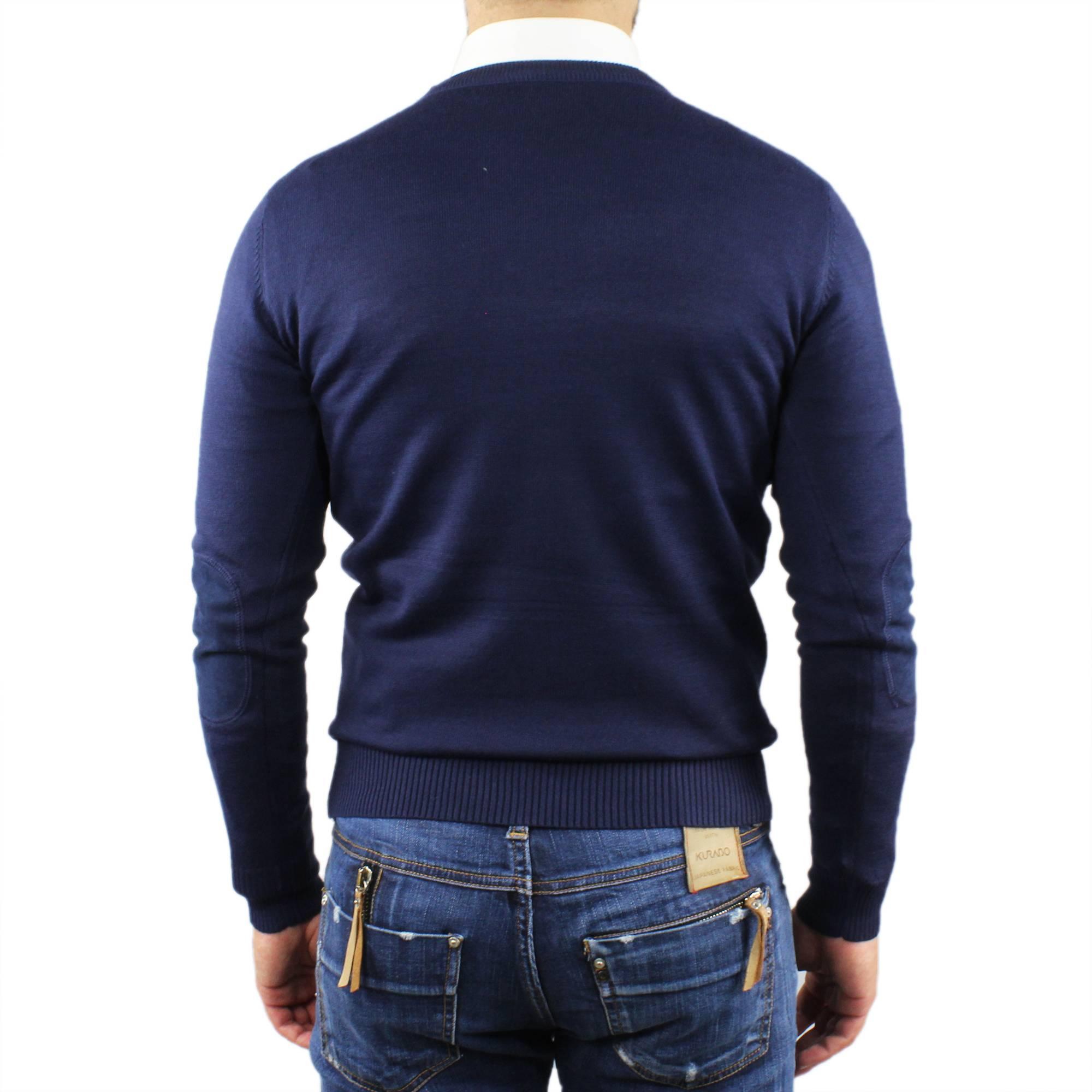 Maglia-Maglione-Uomo-Cotone-Toppe-Manica-Lunga-Maglioncino-Girocollo-Casual miniatura 7