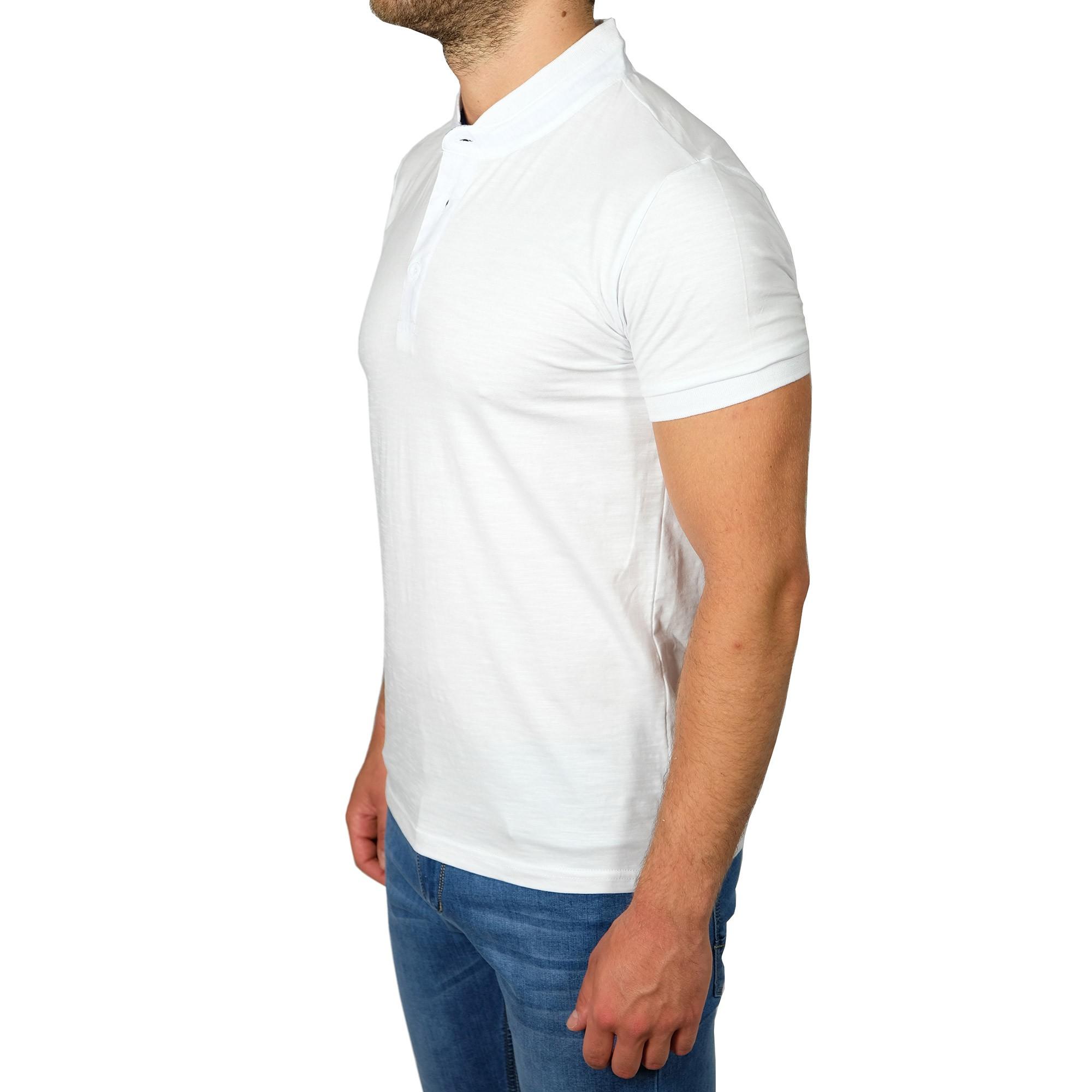 Polo-Uomo-Manica-Corta-Slim-Fit-T-shirt-Cotone-Collo-Coreana-Maglia-Maglietta miniatura 12