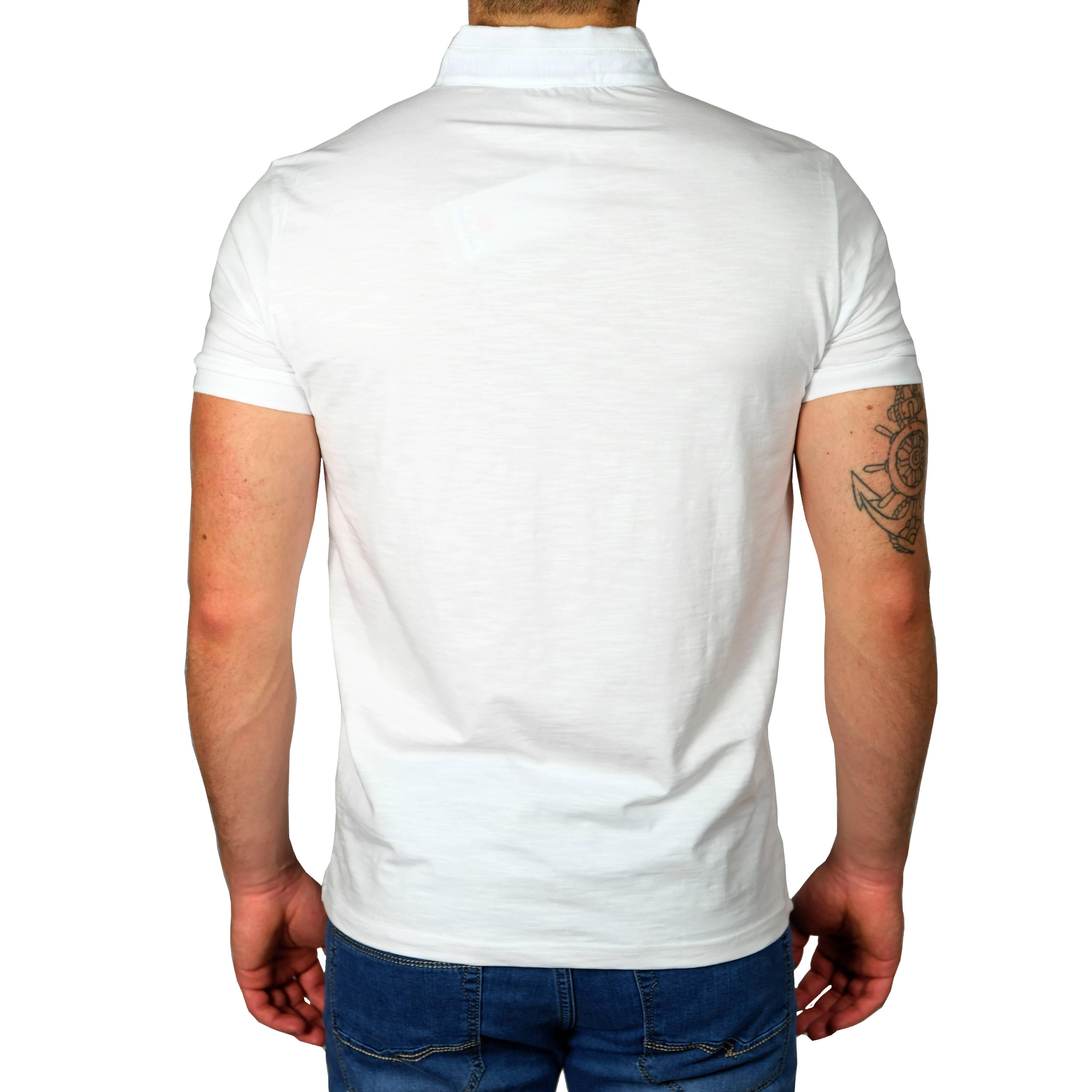 Polo-Uomo-Manica-Corta-Slim-Fit-T-shirt-Cotone-Collo-Coreana-Maglia-Maglietta miniatura 13