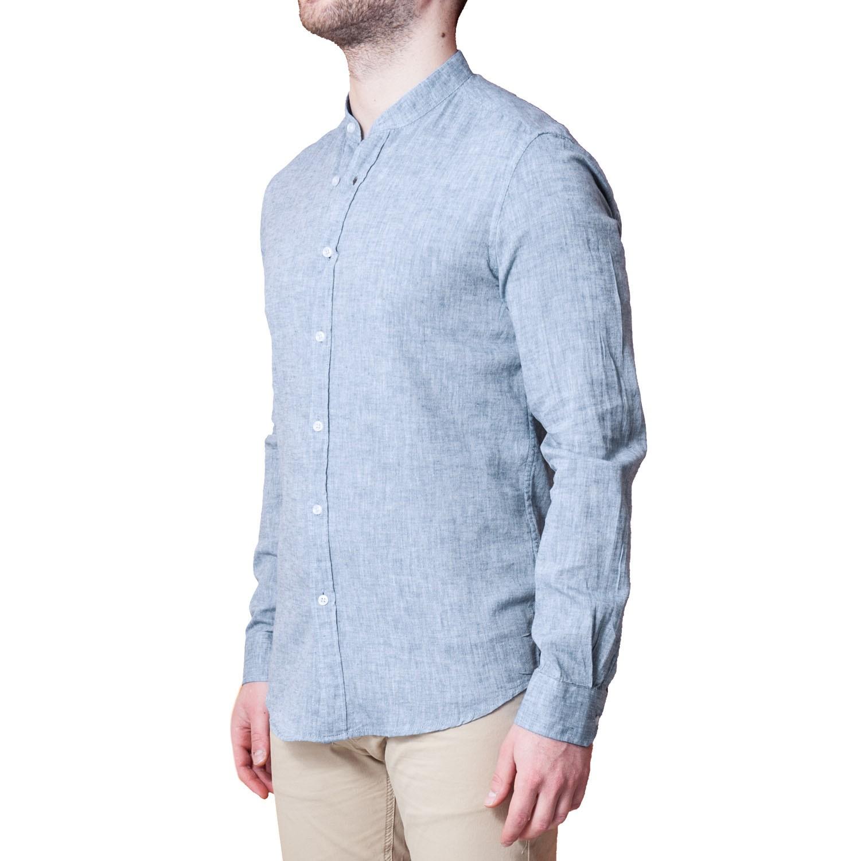 Camicia-Uomo-Lino-Puro-Coreana-Slim-Fit-Blu-Celeste-Bianca-Casual miniatura 15