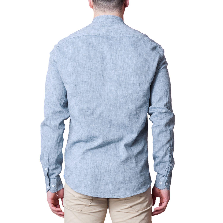 Camicia-Uomo-Lino-Puro-Coreana-Slim-Fit-Blu-Celeste-Bianca-Casual miniatura 16
