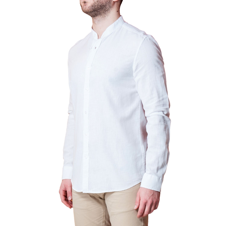 Camicia-Uomo-Lino-Puro-Coreana-Slim-Fit-Blu-Celeste-Bianca-Casual miniatura 12