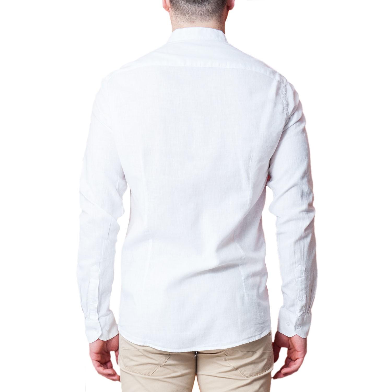 Camicia-Uomo-Lino-Puro-Coreana-Slim-Fit-Blu-Celeste-Bianca-Casual miniatura 13