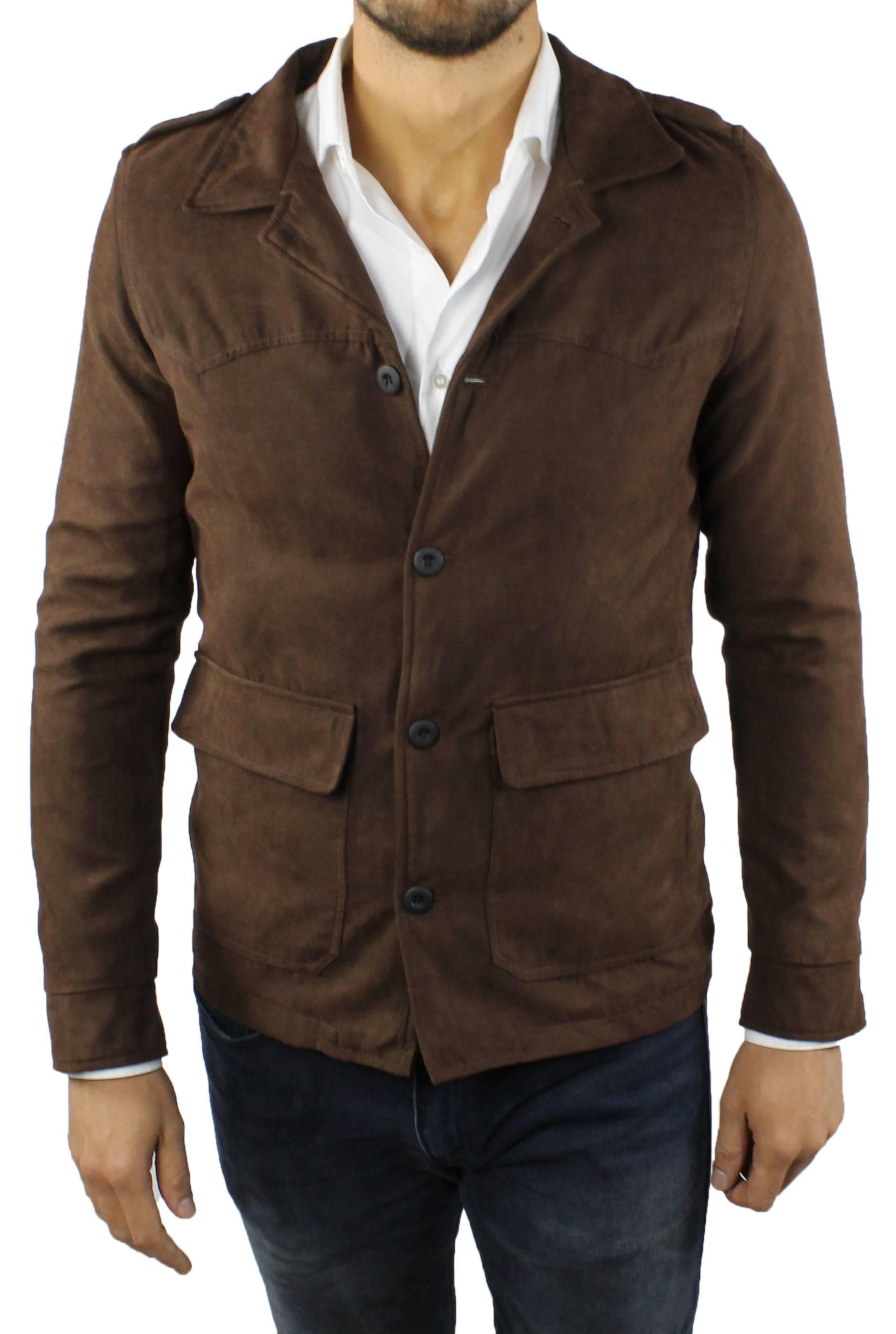Cappotto-Uomo-Scamosciato-Invernale-Elegante-Giubbotto-Giacca-Trench-Casual miniatura 11
