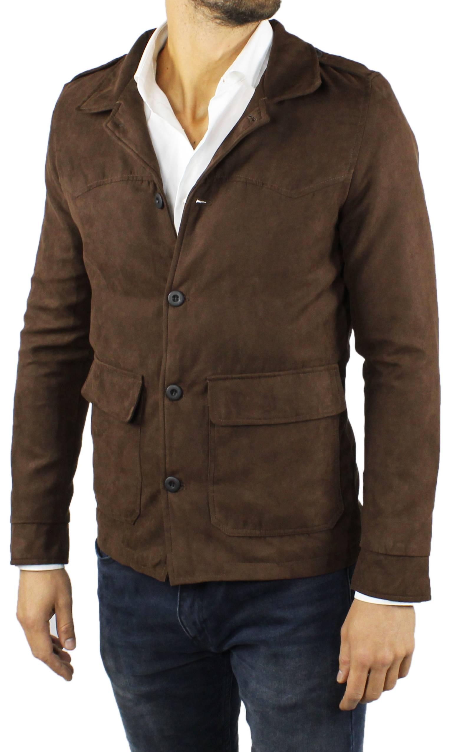 Cappotto-Uomo-Scamosciato-Invernale-Elegante-Giubbotto-Giacca-Trench-Casual miniatura 10