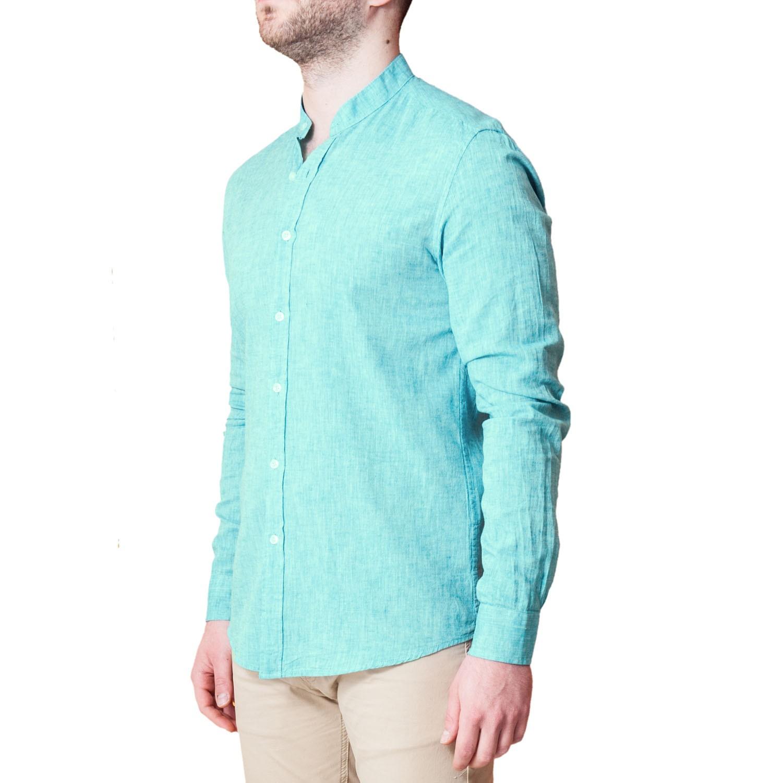 Camicia-Uomo-Lino-Puro-Coreana-Slim-Fit-Blu-Celeste-Bianca-Casual miniatura 18