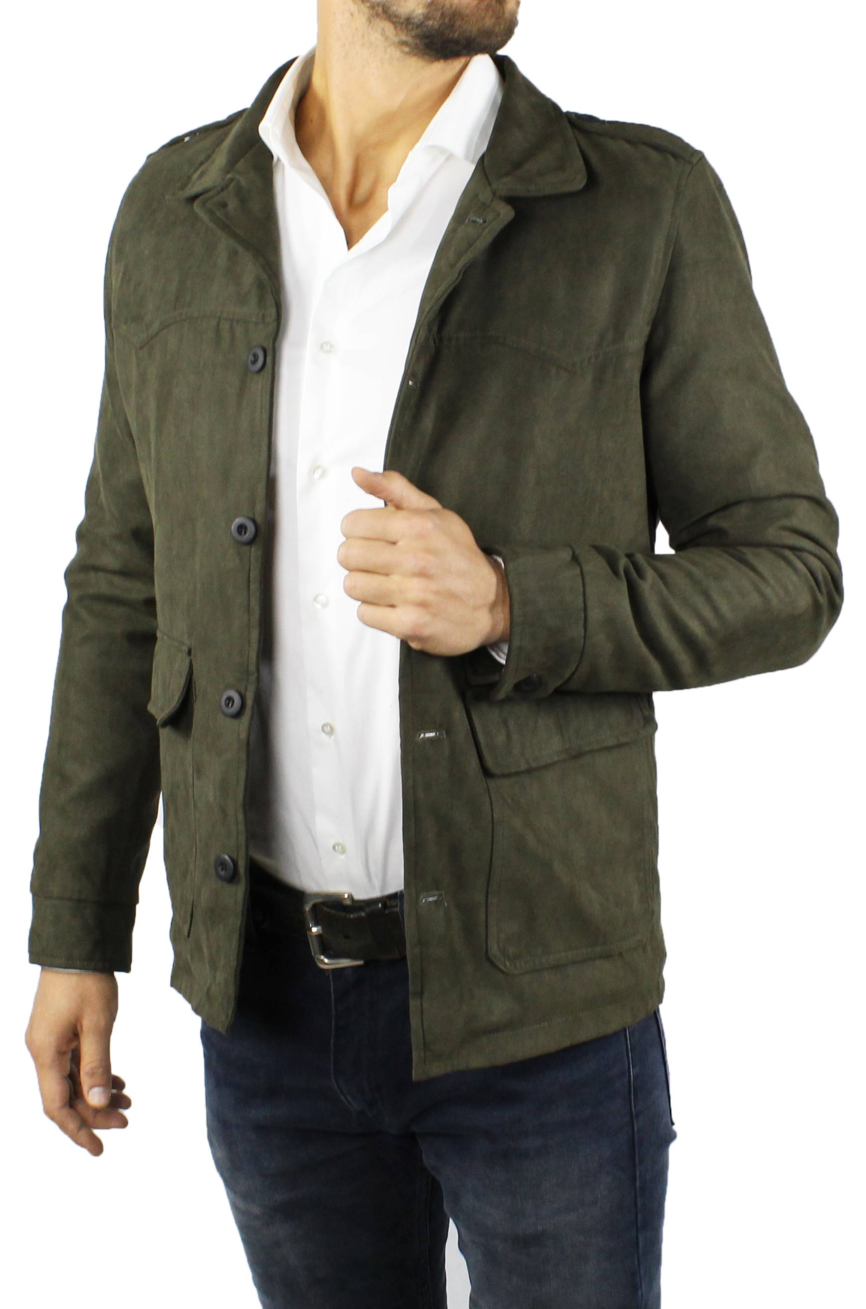 Cappotto-Uomo-Scamosciato-Invernale-Elegante-Giubbotto-Giacca-Trench-Casual miniatura 14