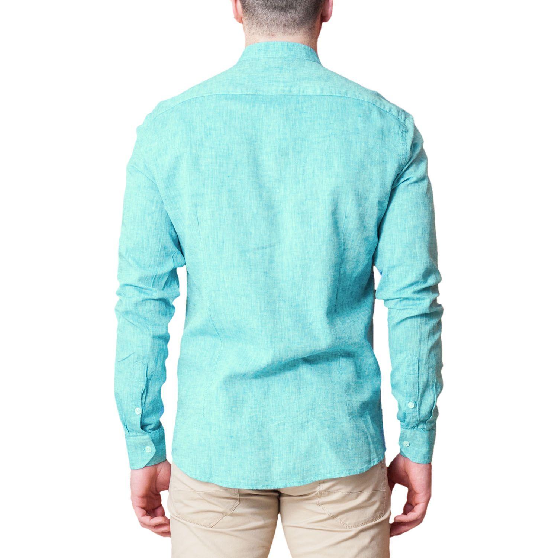 Camicia-Uomo-Lino-Puro-Coreana-Slim-Fit-Blu-Celeste-Bianca-Casual miniatura 19
