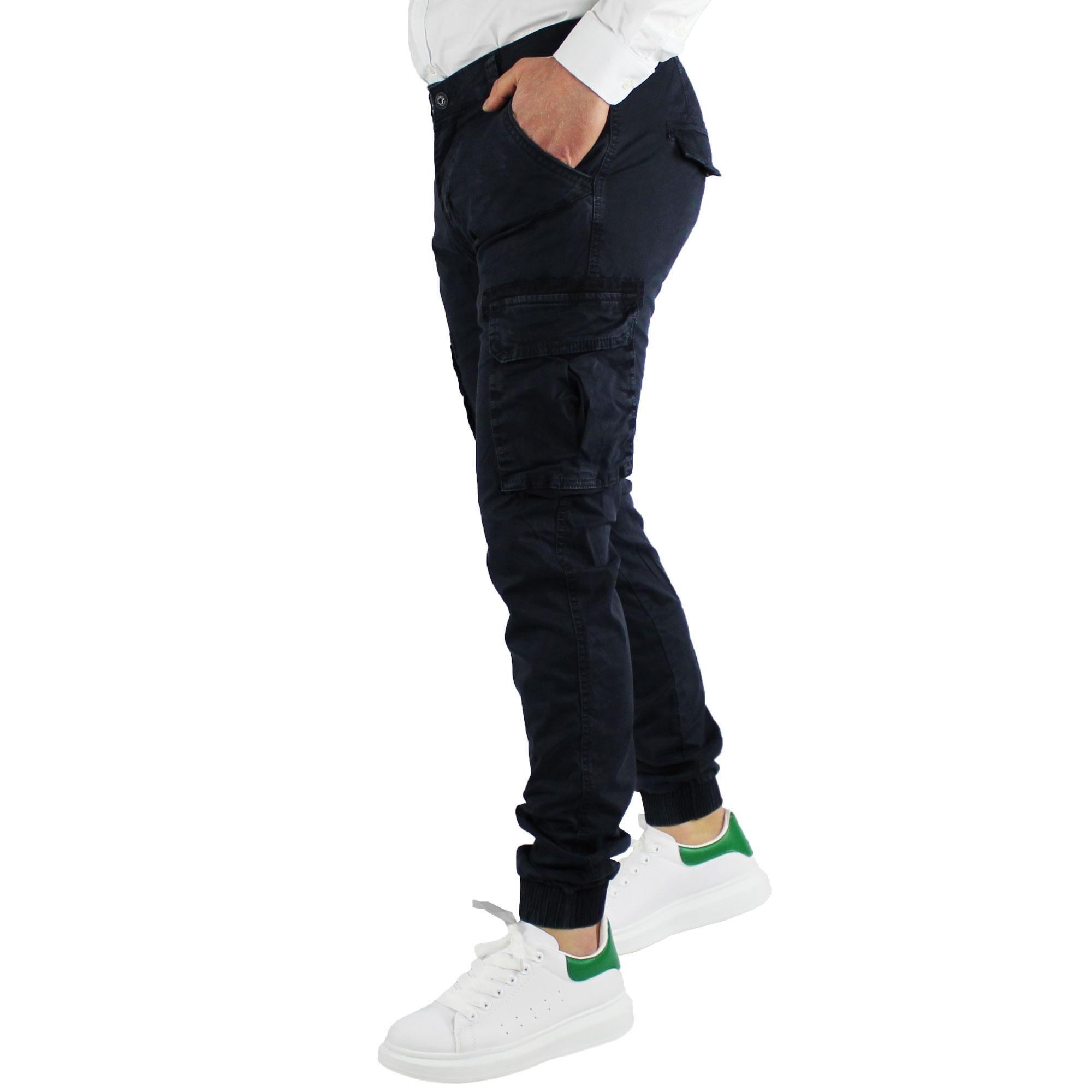 Pantaloni-Uomo-Cargo-Invernali-Pantalone-Tasche-Laterali-SlimFit-Verde-Blu-Fango miniatura 4