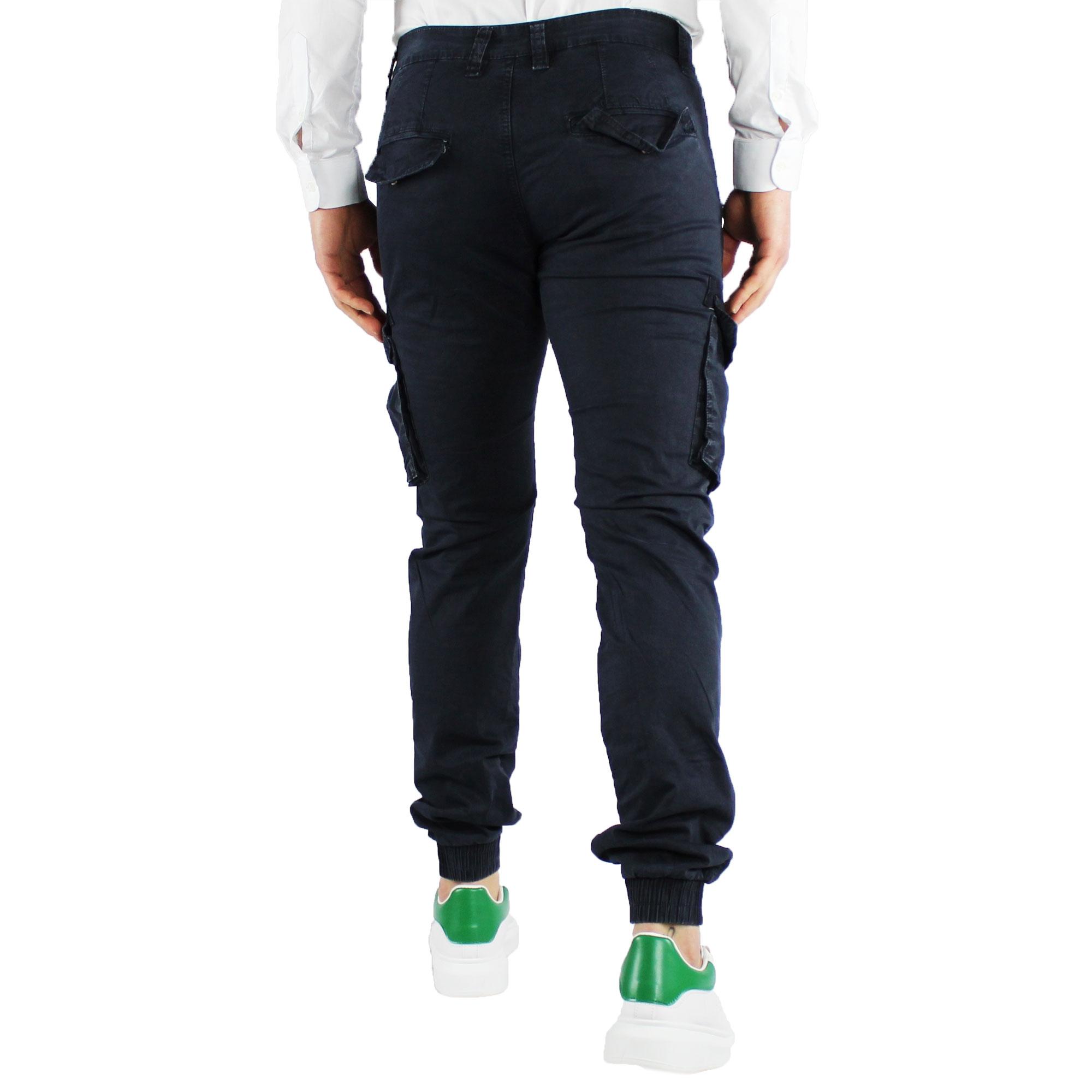 Pantaloni-Uomo-Cargo-Invernali-Pantalone-Tasche-Laterali-SlimFit-Verde-Blu-Fango miniatura 5
