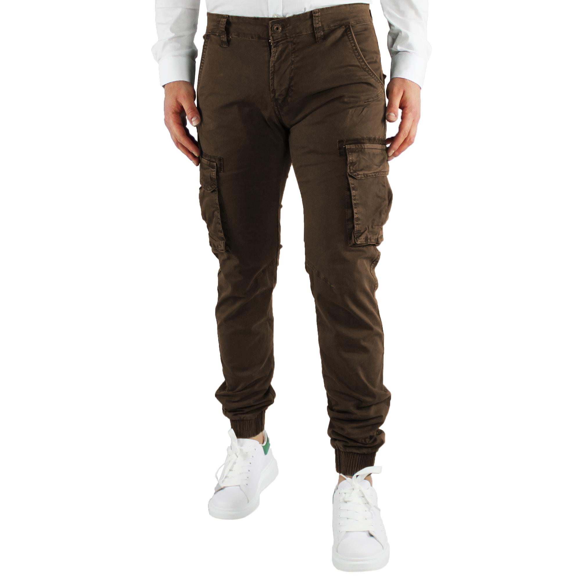 Pantaloni-Uomo-Cargo-Invernali-Pantalone-Tasche-Laterali-SlimFit-Verde-Blu-Fango miniatura 10