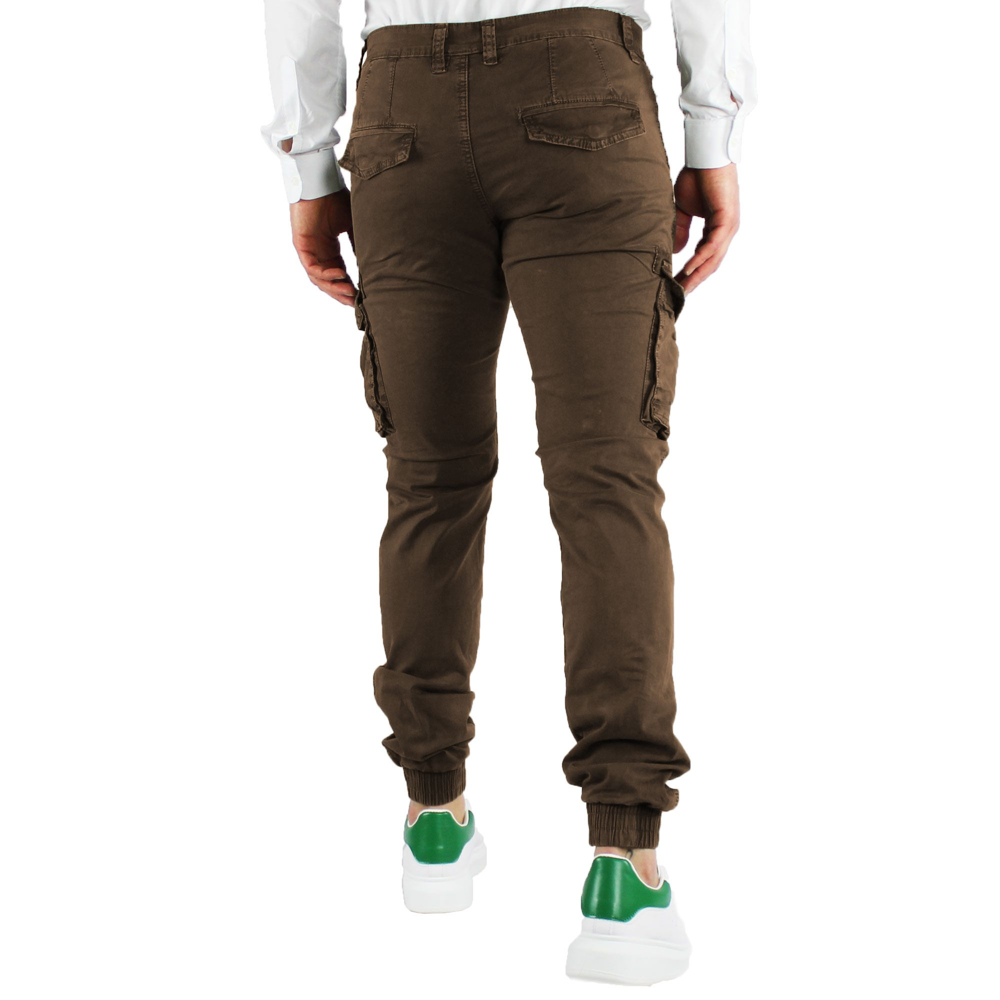 Pantaloni-Uomo-Cargo-Invernali-Pantalone-Tasche-Laterali-SlimFit-Verde-Blu-Fango miniatura 11