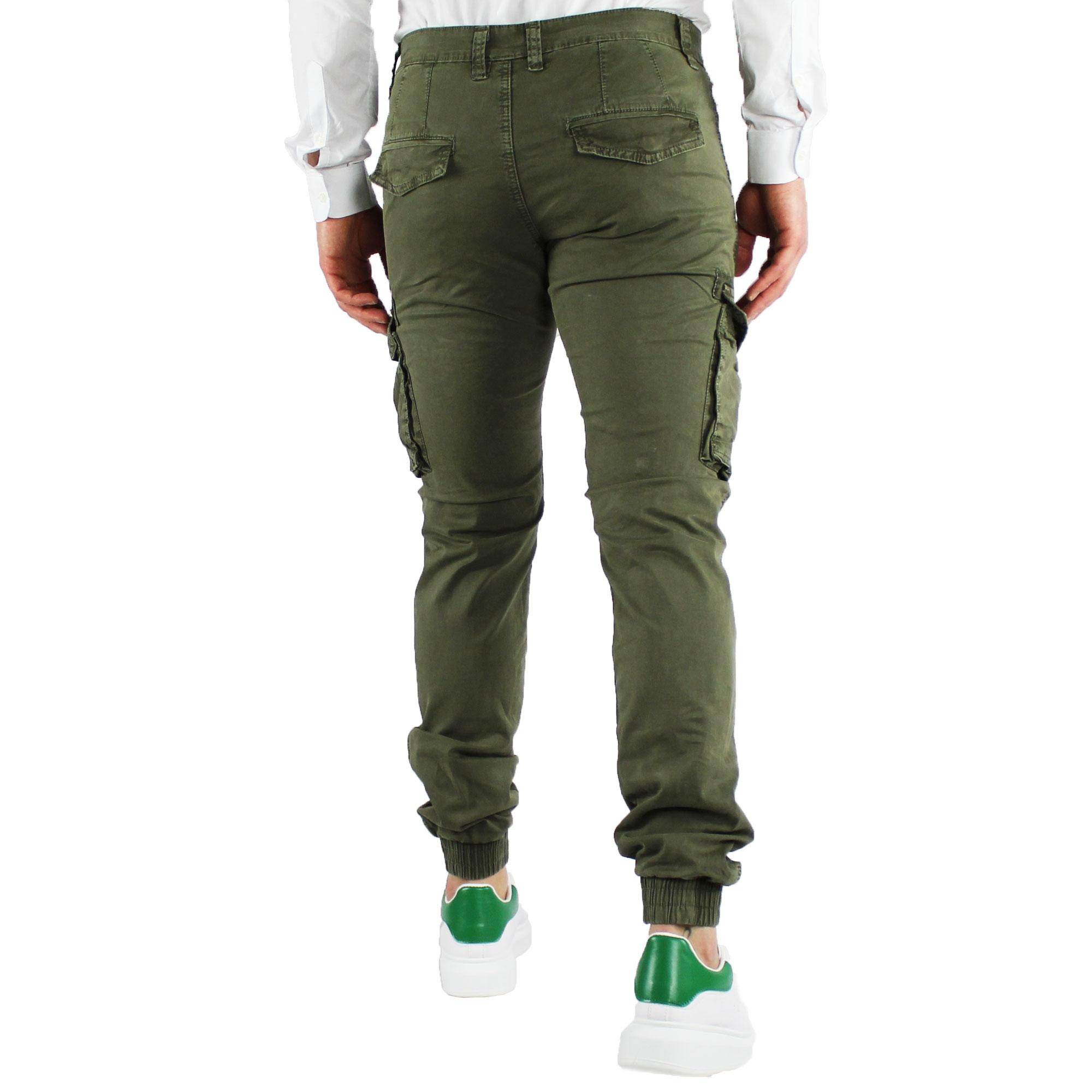 Pantaloni-Uomo-Cargo-Invernali-Pantalone-Tasche-Laterali-SlimFit-Verde-Blu-Fango miniatura 8