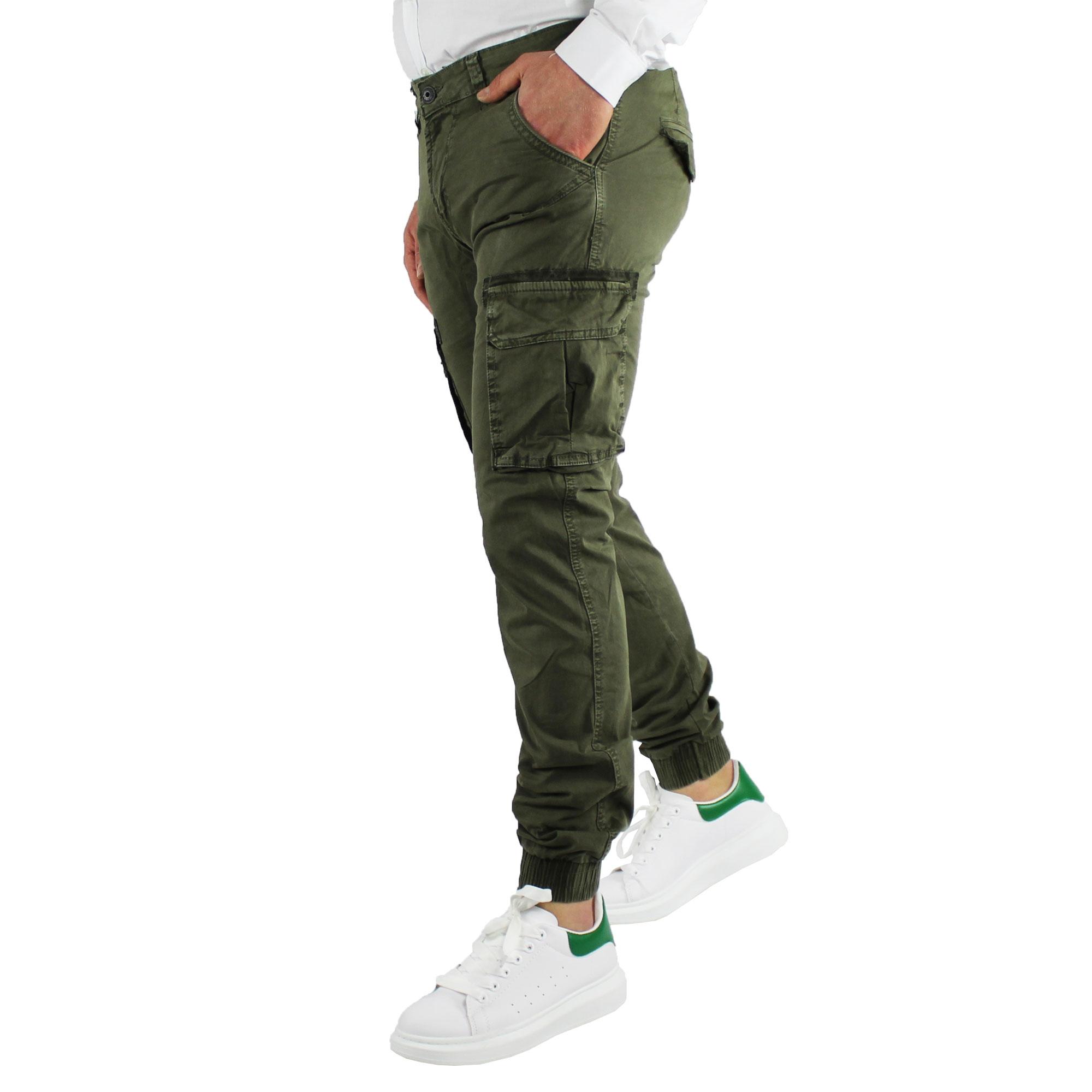 Pantaloni-Uomo-Cargo-Invernali-Pantalone-Tasche-Laterali-SlimFit-Verde-Blu-Fango miniatura 7