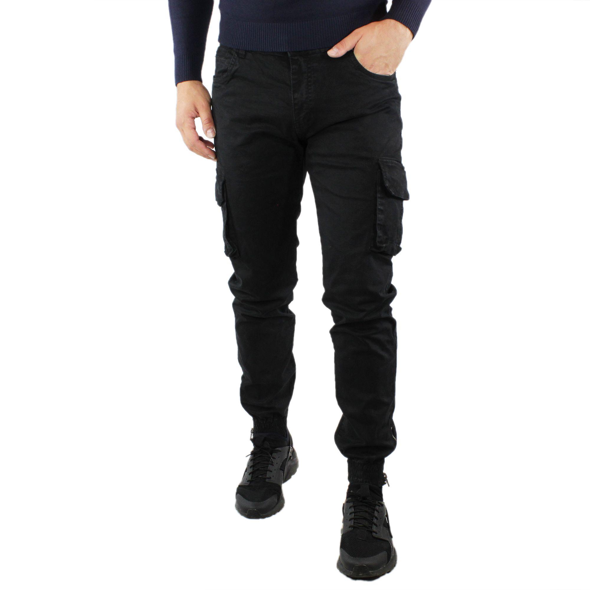Pantaloni-Cargo-Uomo-Invernale-Tasche-Laterali-Cotone-Slim-Fit-Tasconi-Casual miniatura 15
