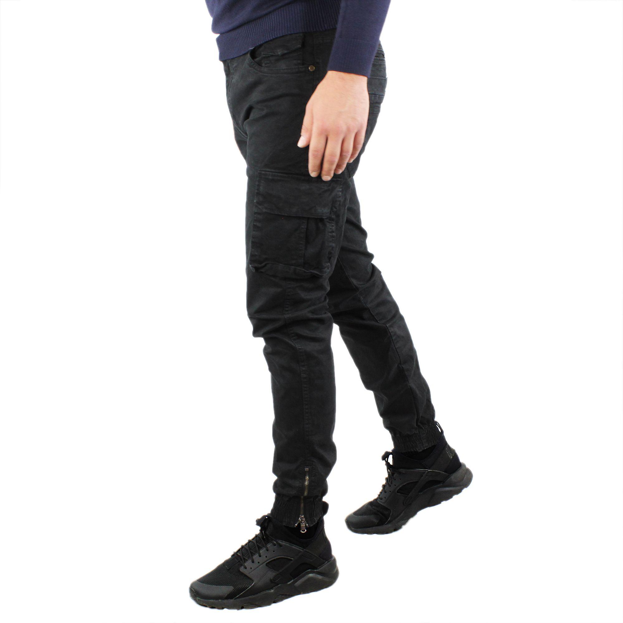 Pantaloni-Cargo-Uomo-Invernale-Tasche-Laterali-Cotone-Slim-Fit-Tasconi-Casual miniatura 16