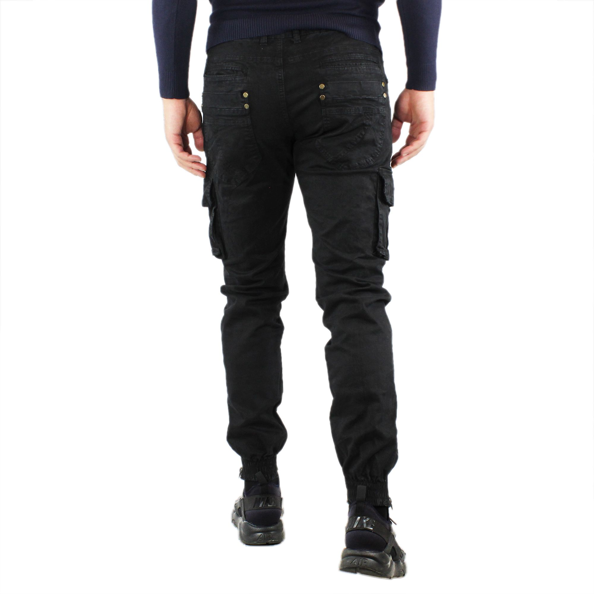 Pantaloni-Cargo-Uomo-Invernale-Tasche-Laterali-Cotone-Slim-Fit-Tasconi-Casual miniatura 17
