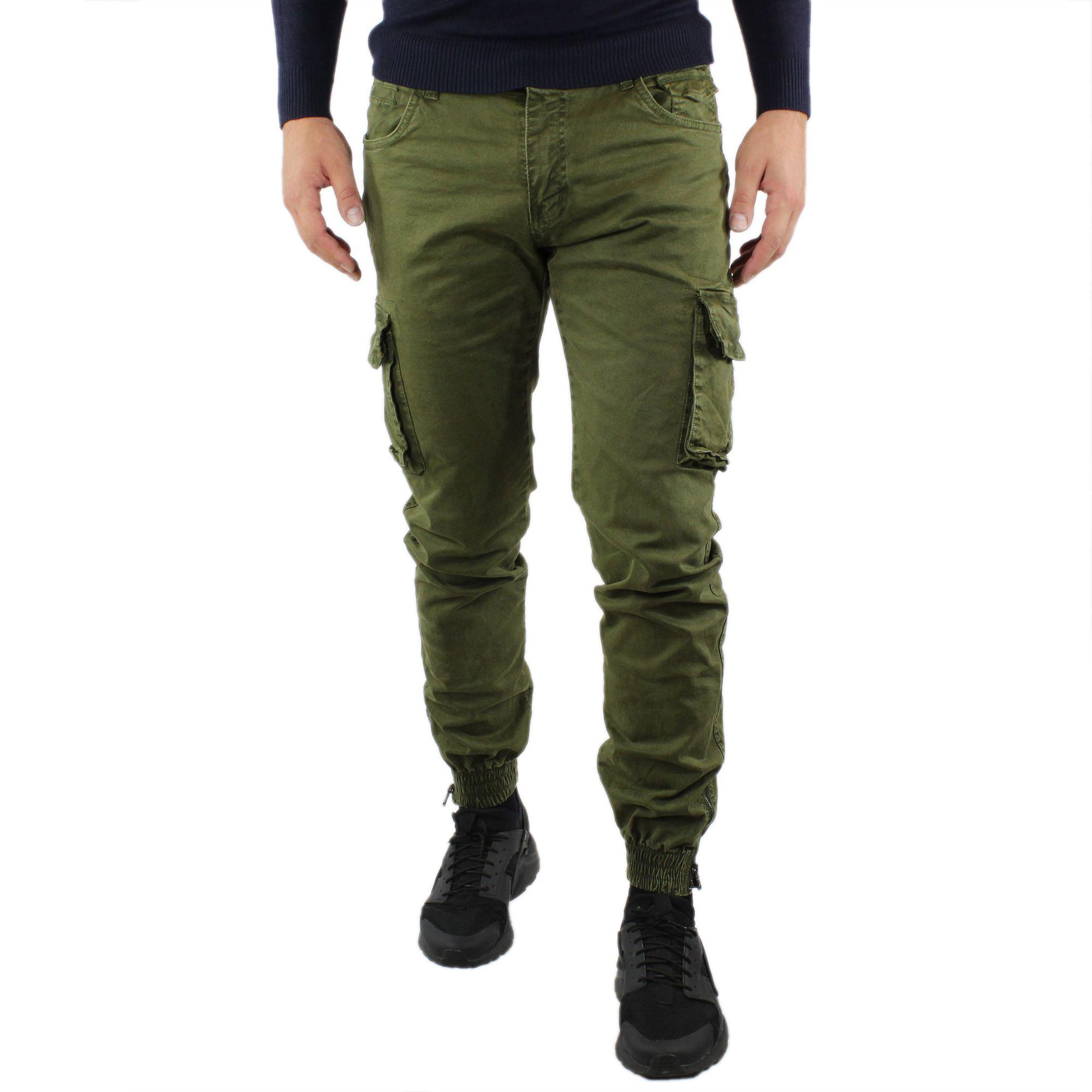 Pantaloni-Cargo-Uomo-Invernale-Tasche-Laterali-Cotone-Slim-Fit-Tasconi-Casual miniatura 11