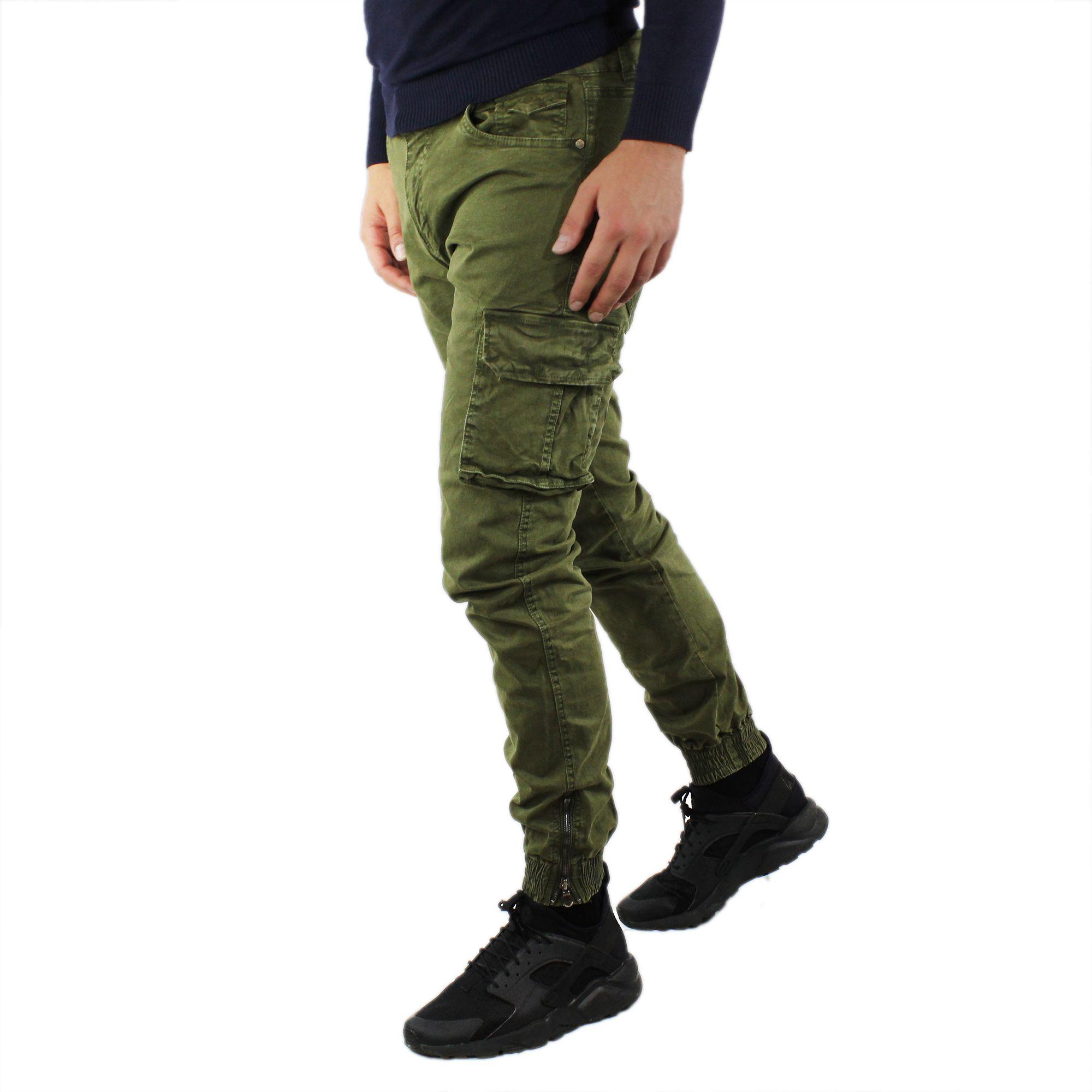 Pantaloni-Cargo-Uomo-Invernale-Tasche-Laterali-Cotone-Slim-Fit-Tasconi-Casual miniatura 12