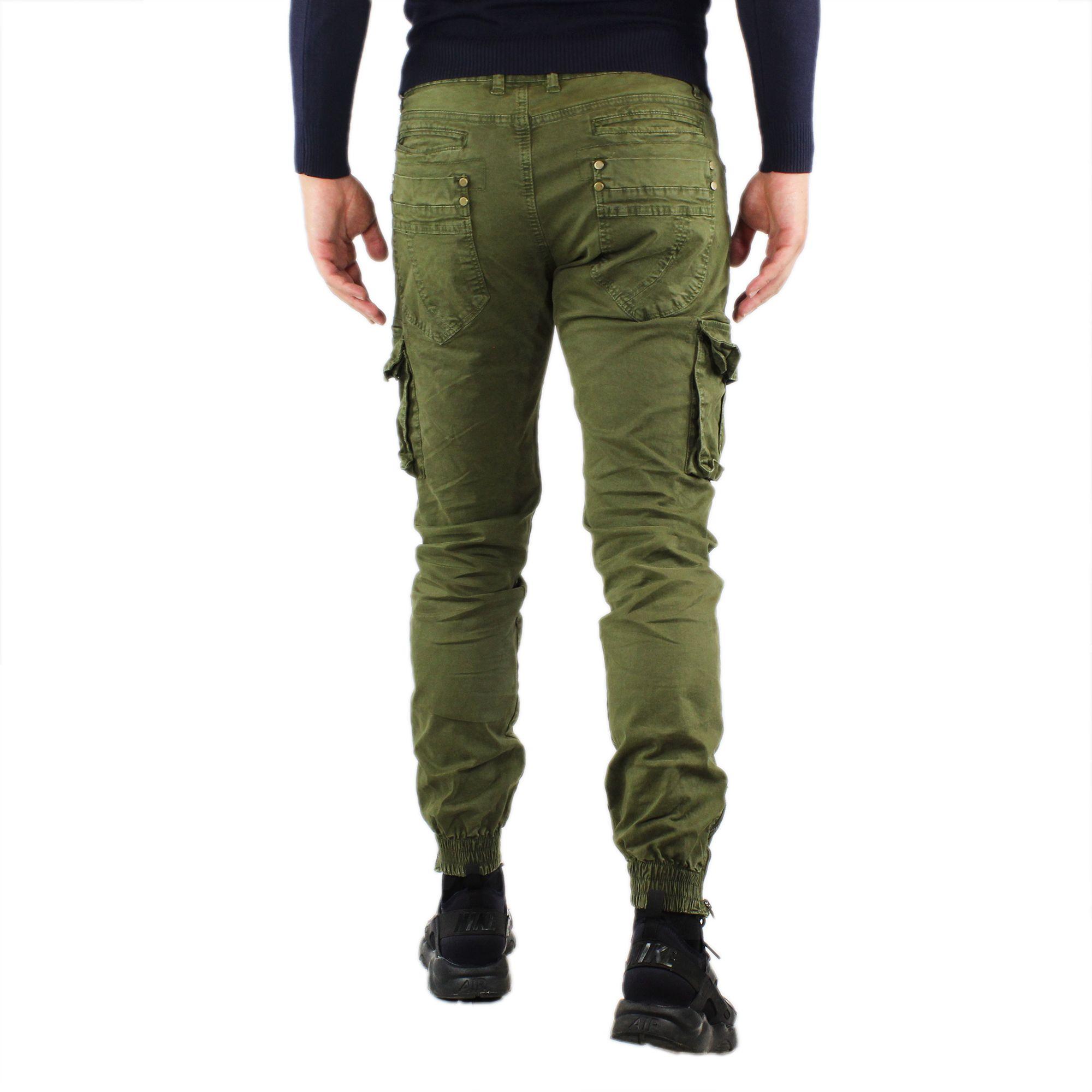 Pantaloni-Cargo-Uomo-Invernale-Tasche-Laterali-Cotone-Slim-Fit-Tasconi-Casual miniatura 13
