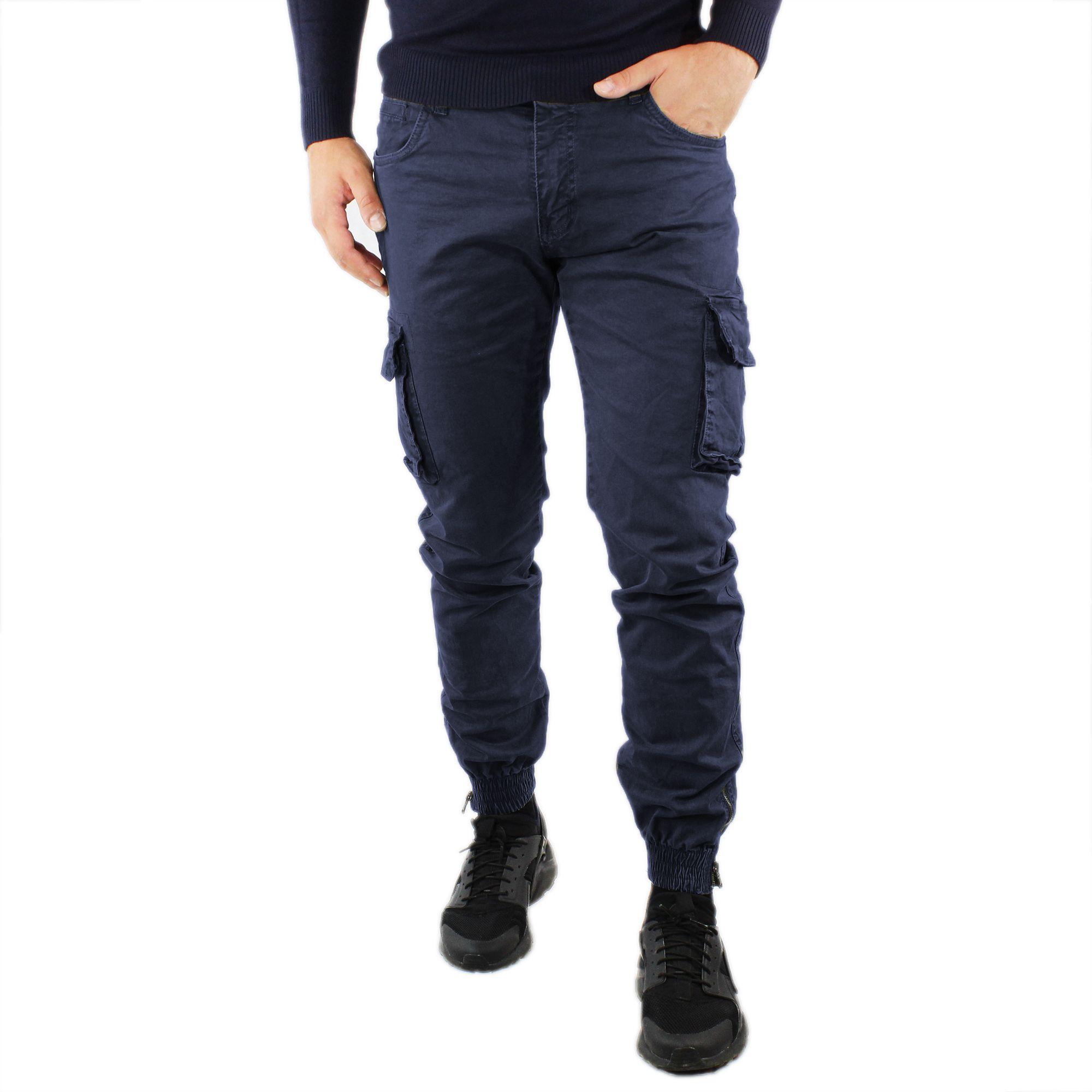 Pantaloni-Cargo-Uomo-Invernale-Tasche-Laterali-Cotone-Slim-Fit-Tasconi-Casual miniatura 7