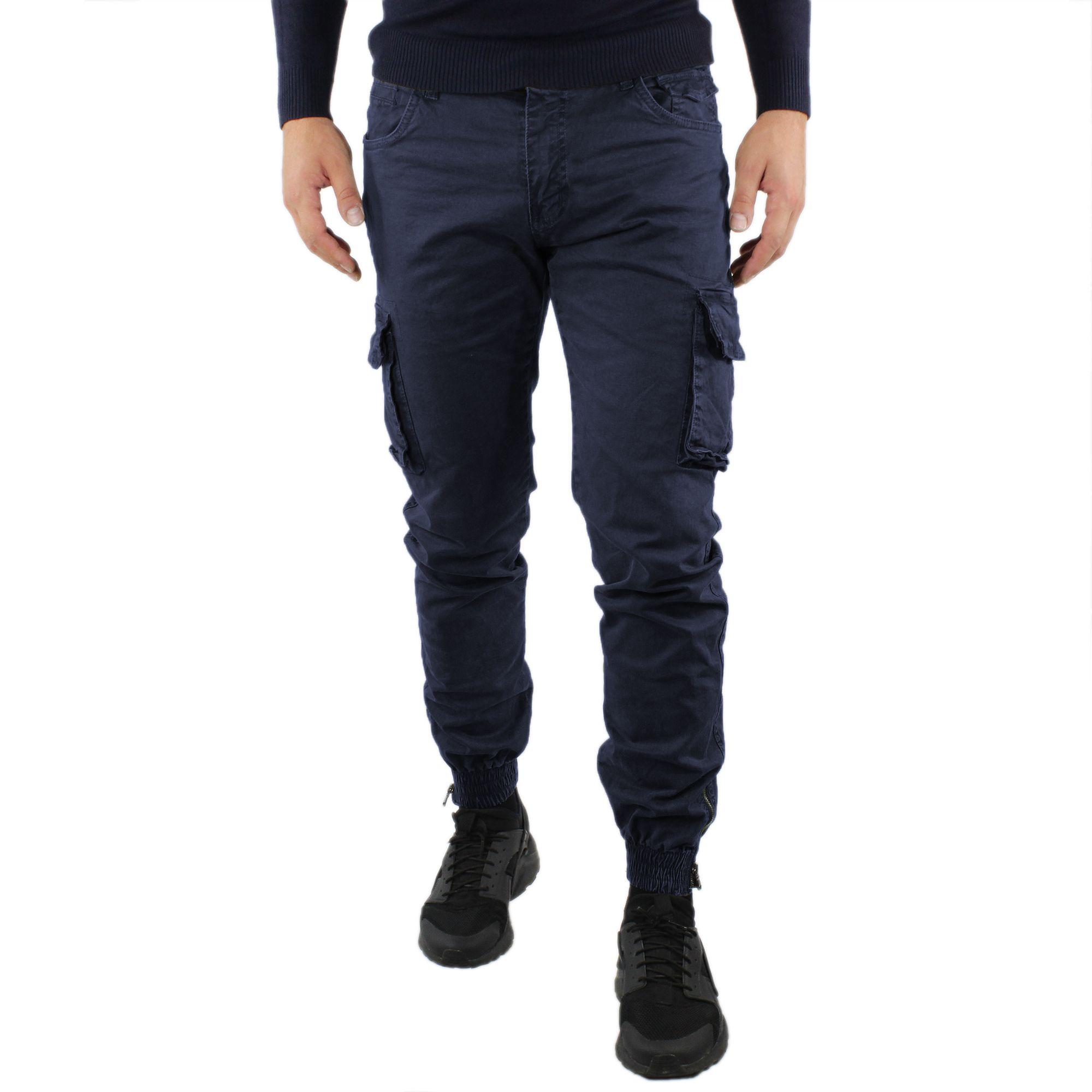 Pantaloni-Cargo-Uomo-Invernale-Tasche-Laterali-Cotone-Slim-Fit-Tasconi-Casual miniatura 8