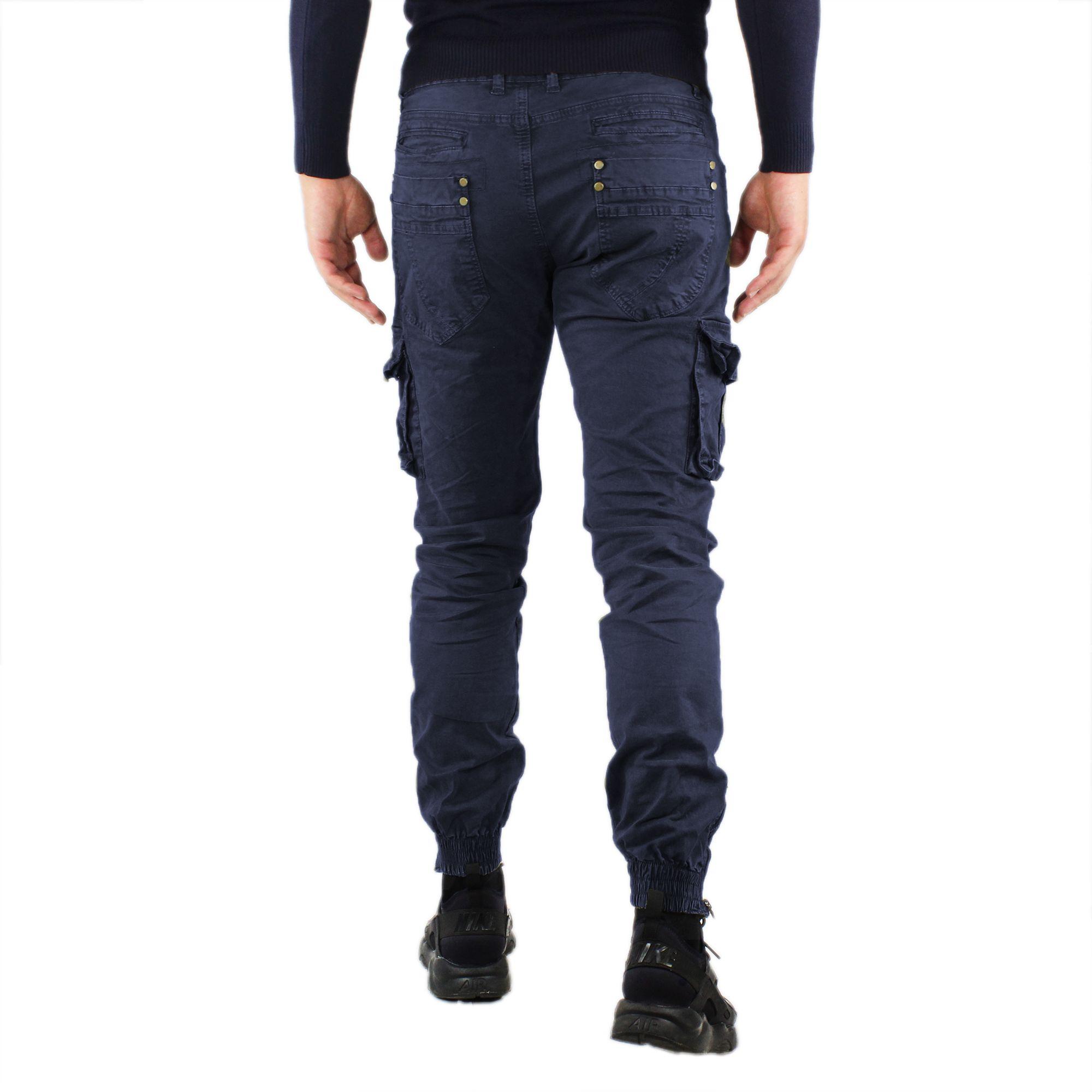 Pantaloni-Cargo-Uomo-Invernale-Tasche-Laterali-Cotone-Slim-Fit-Tasconi-Casual miniatura 9