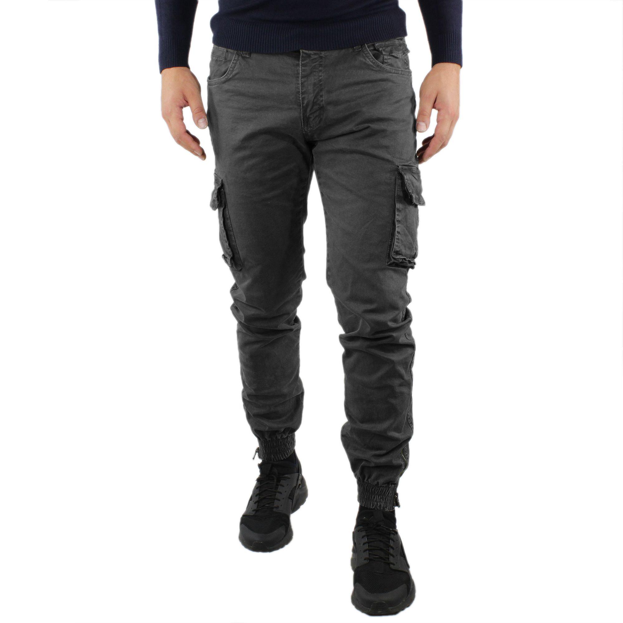 Pantaloni-Cargo-Uomo-Invernale-Tasche-Laterali-Cotone-Slim-Fit-Tasconi-Casual miniatura 3