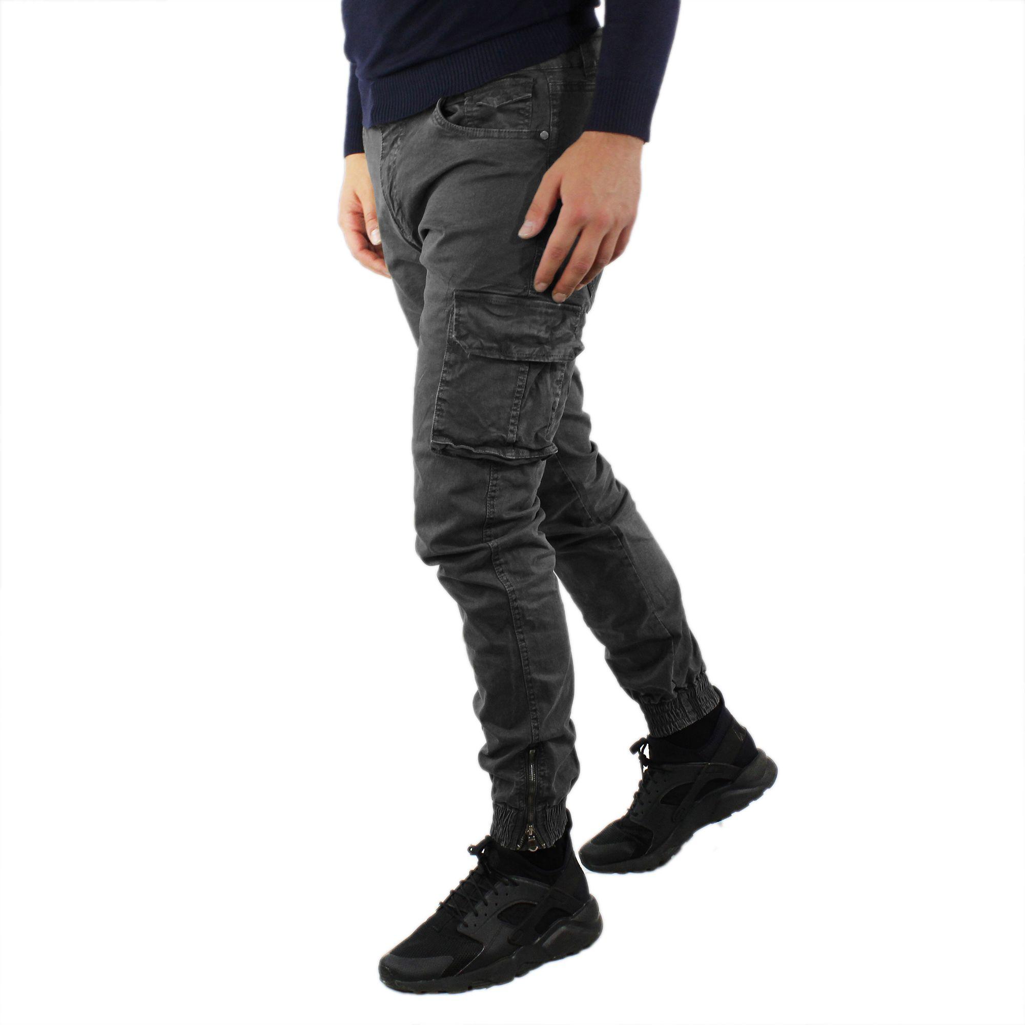 Pantaloni-Cargo-Uomo-Invernale-Tasche-Laterali-Cotone-Slim-Fit-Tasconi-Casual miniatura 4