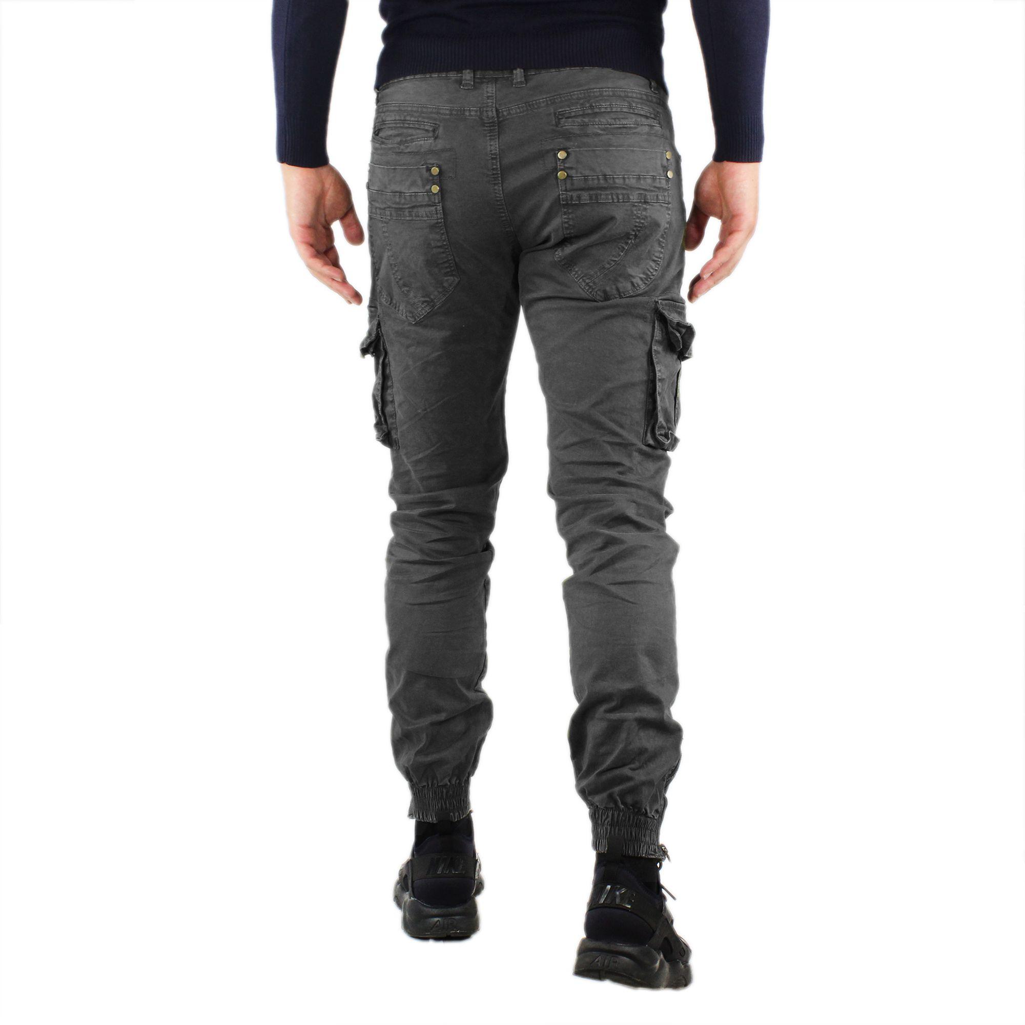 Pantaloni-Cargo-Uomo-Invernale-Tasche-Laterali-Cotone-Slim-Fit-Tasconi-Casual miniatura 5