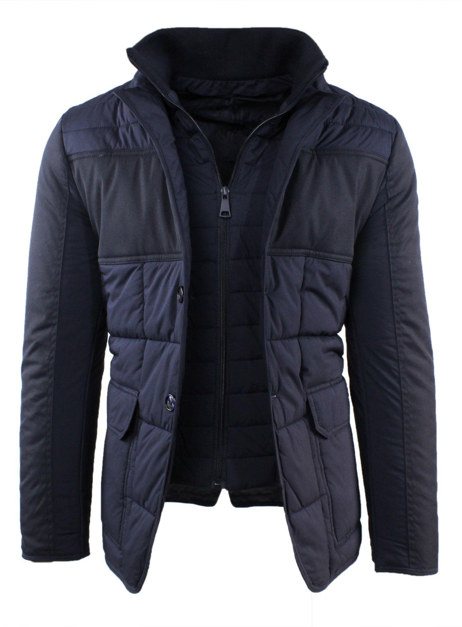Giubbotto-Uomo-Invernale-Slim-Fit-Blu-Nero-Giacca-Elegante-Trapuntata-Cappotto miniatura 4
