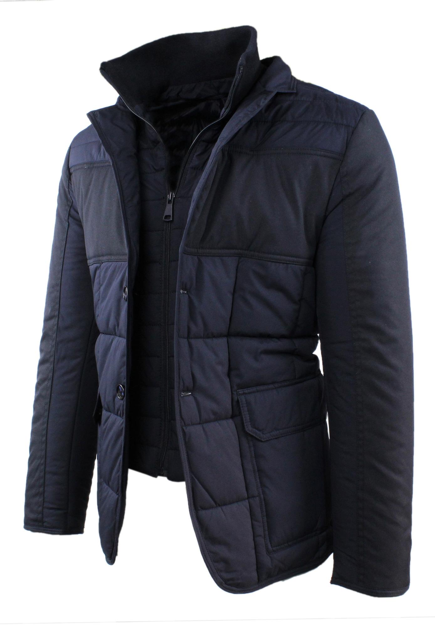 Giubbotto-Uomo-Invernale-Slim-Fit-Blu-Nero-Giacca-Elegante-Trapuntata-Cappotto miniatura 5